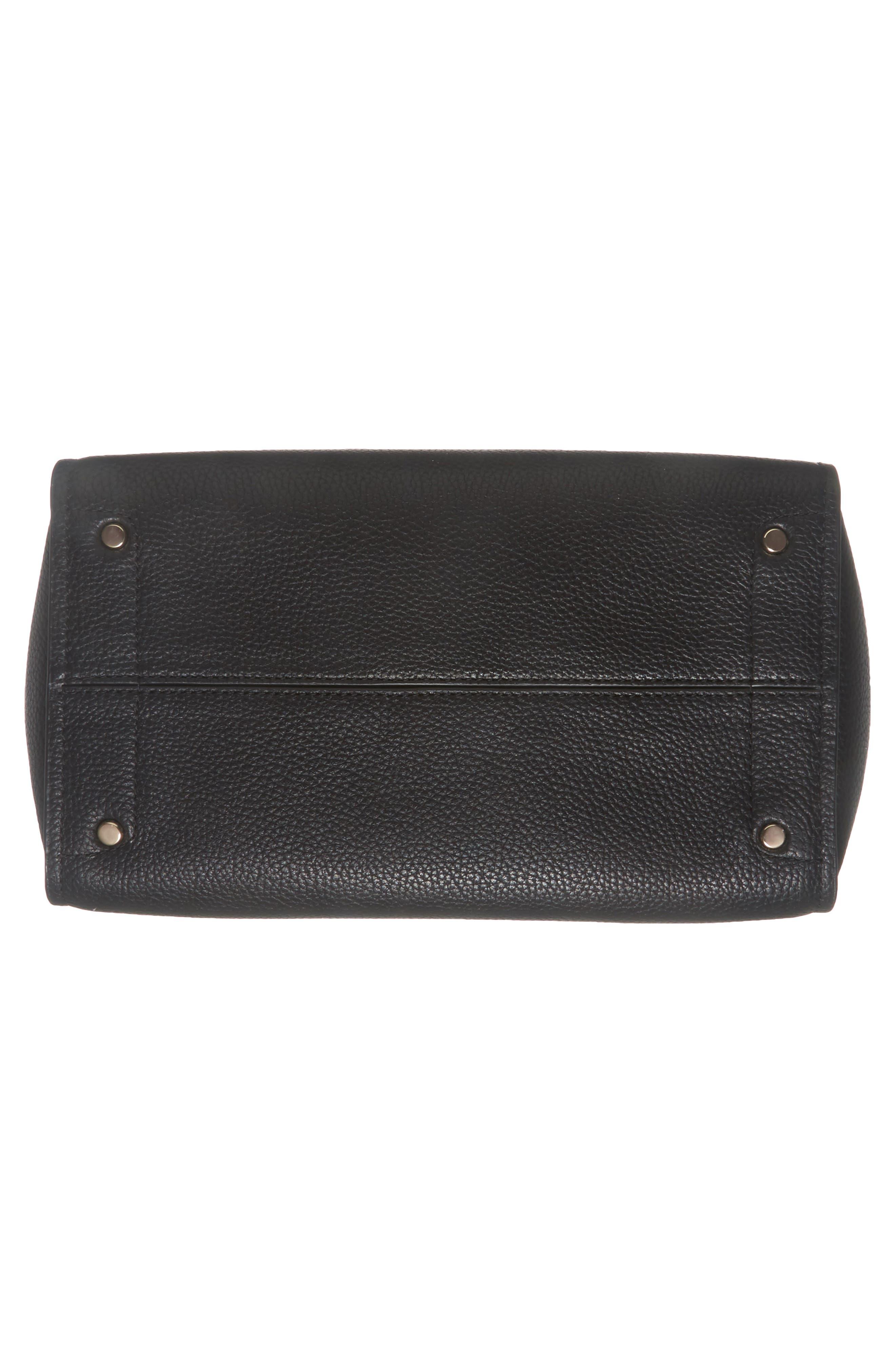 trent hill - hayden leather satchel,                             Alternate thumbnail 6, color,                             Black