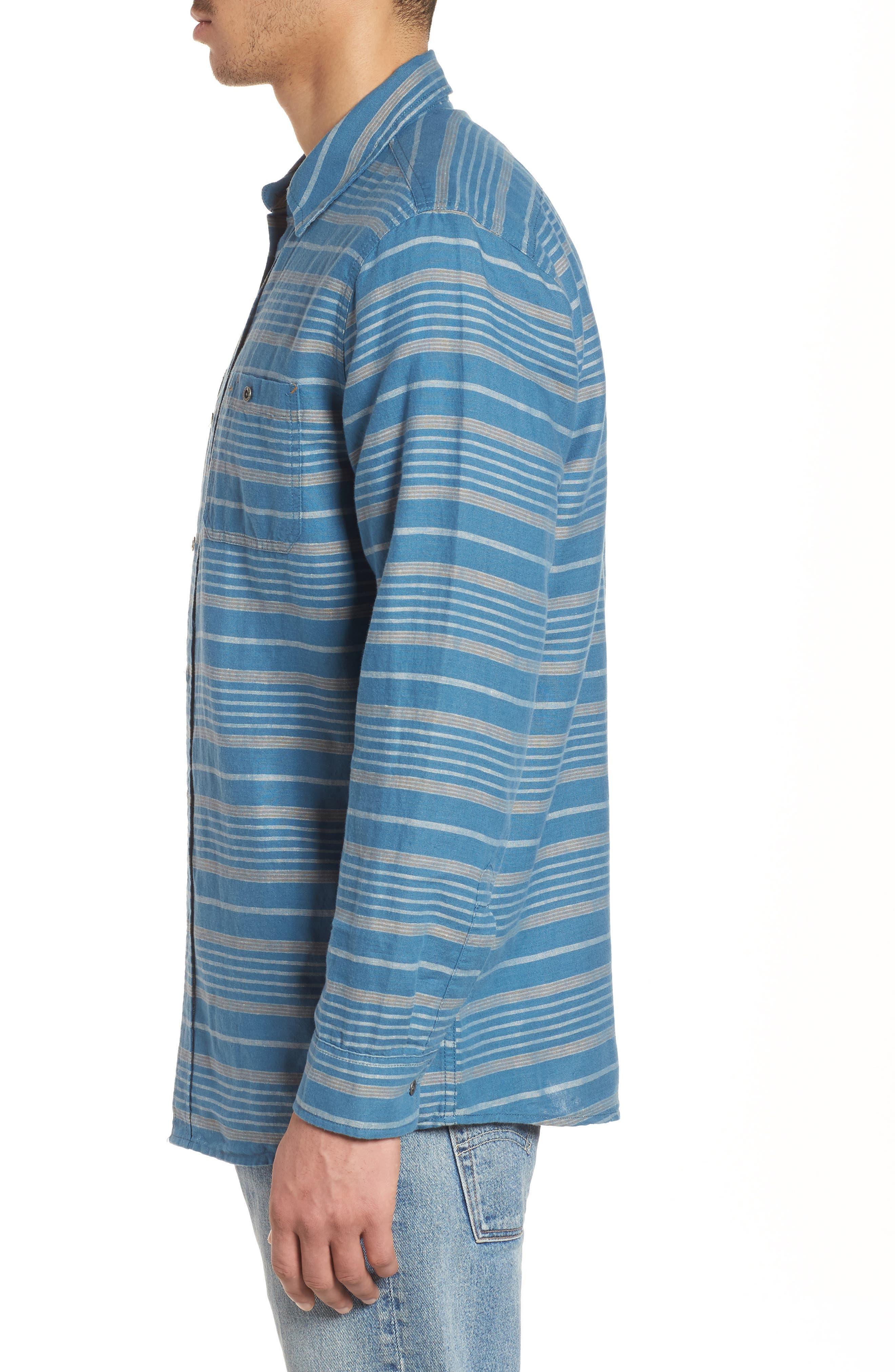 Kay Street Fitted Shirt,                             Alternate thumbnail 3, color,                             Navy/ Cream Stripe