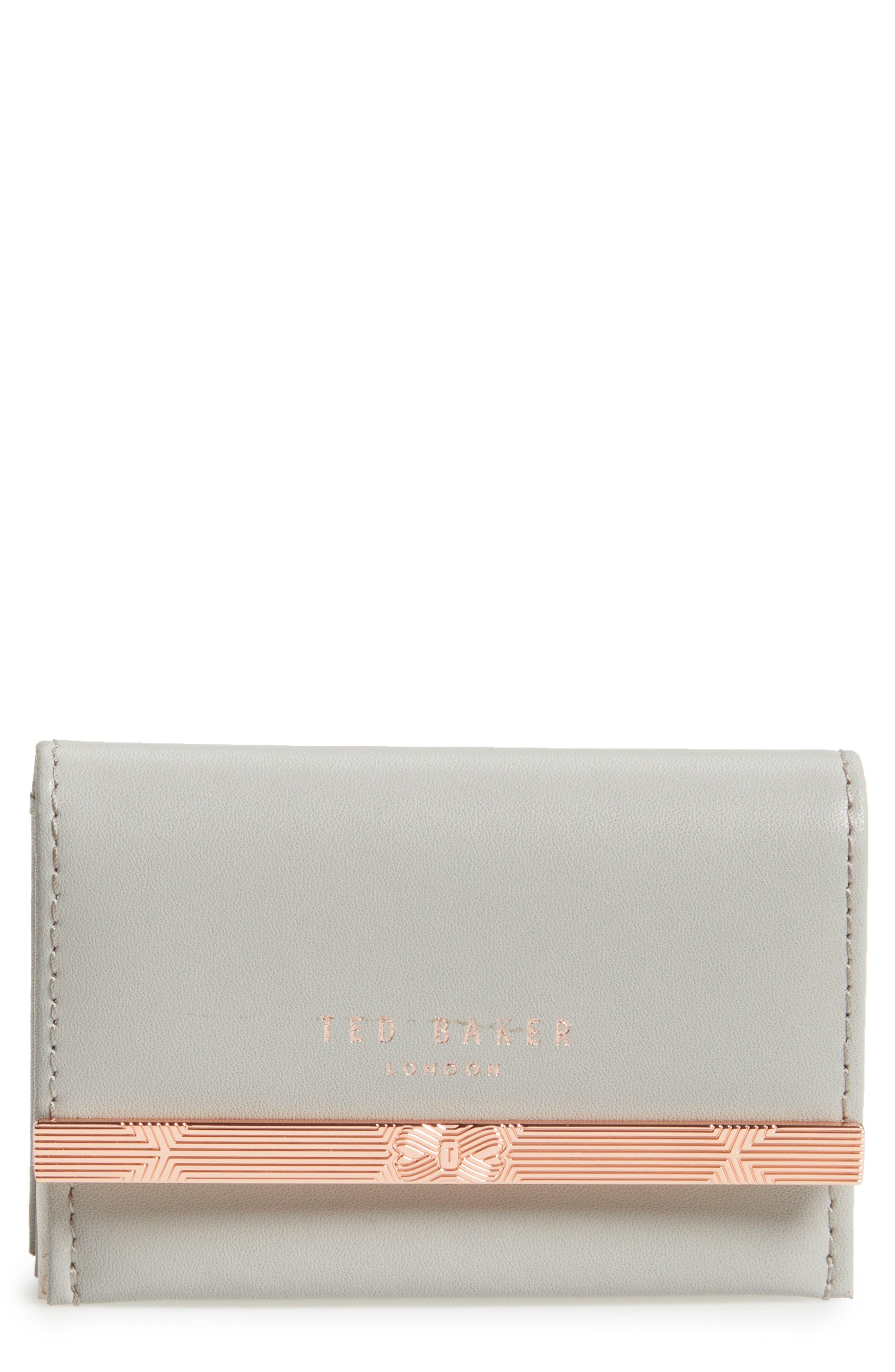 Niccole Accordion Leather Card Case,                             Main thumbnail 1, color,                             Light Grey