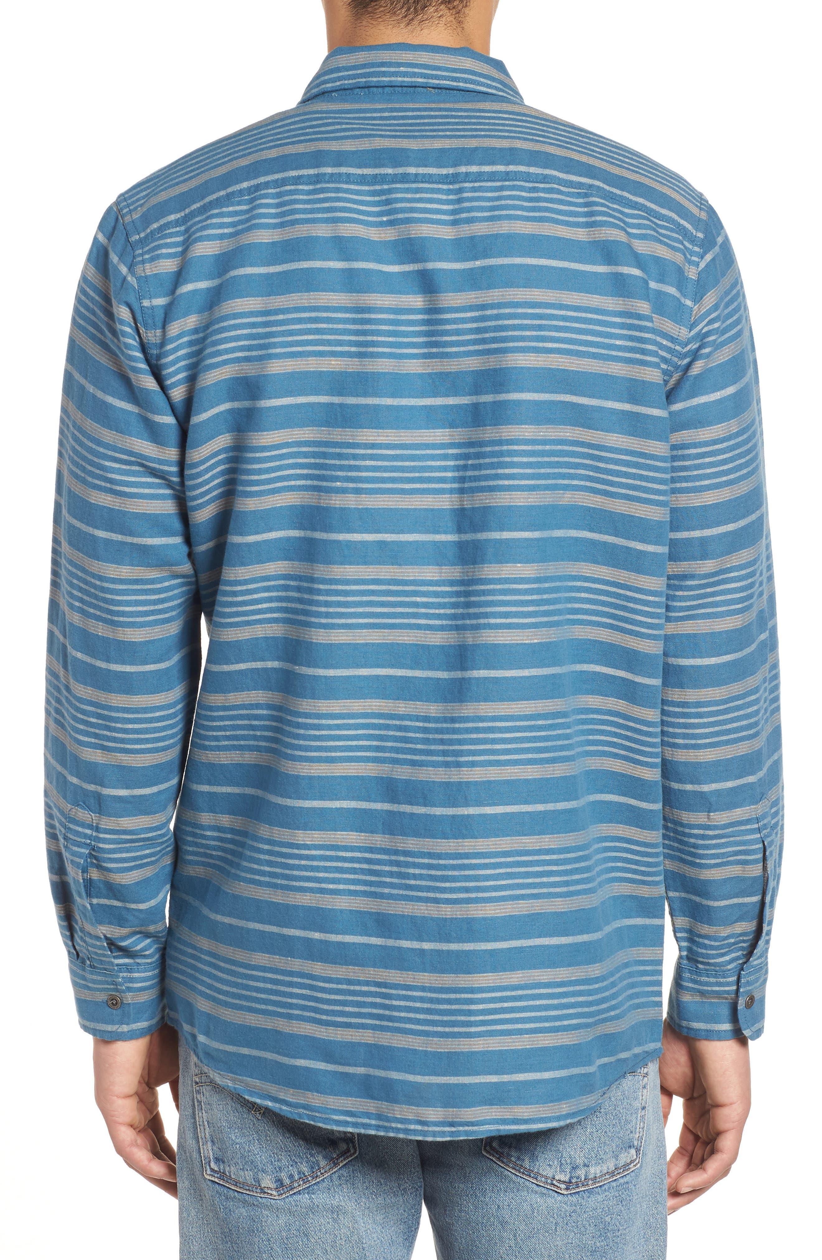 Kay Street Fitted Shirt,                             Alternate thumbnail 2, color,                             Navy/ Cream Stripe
