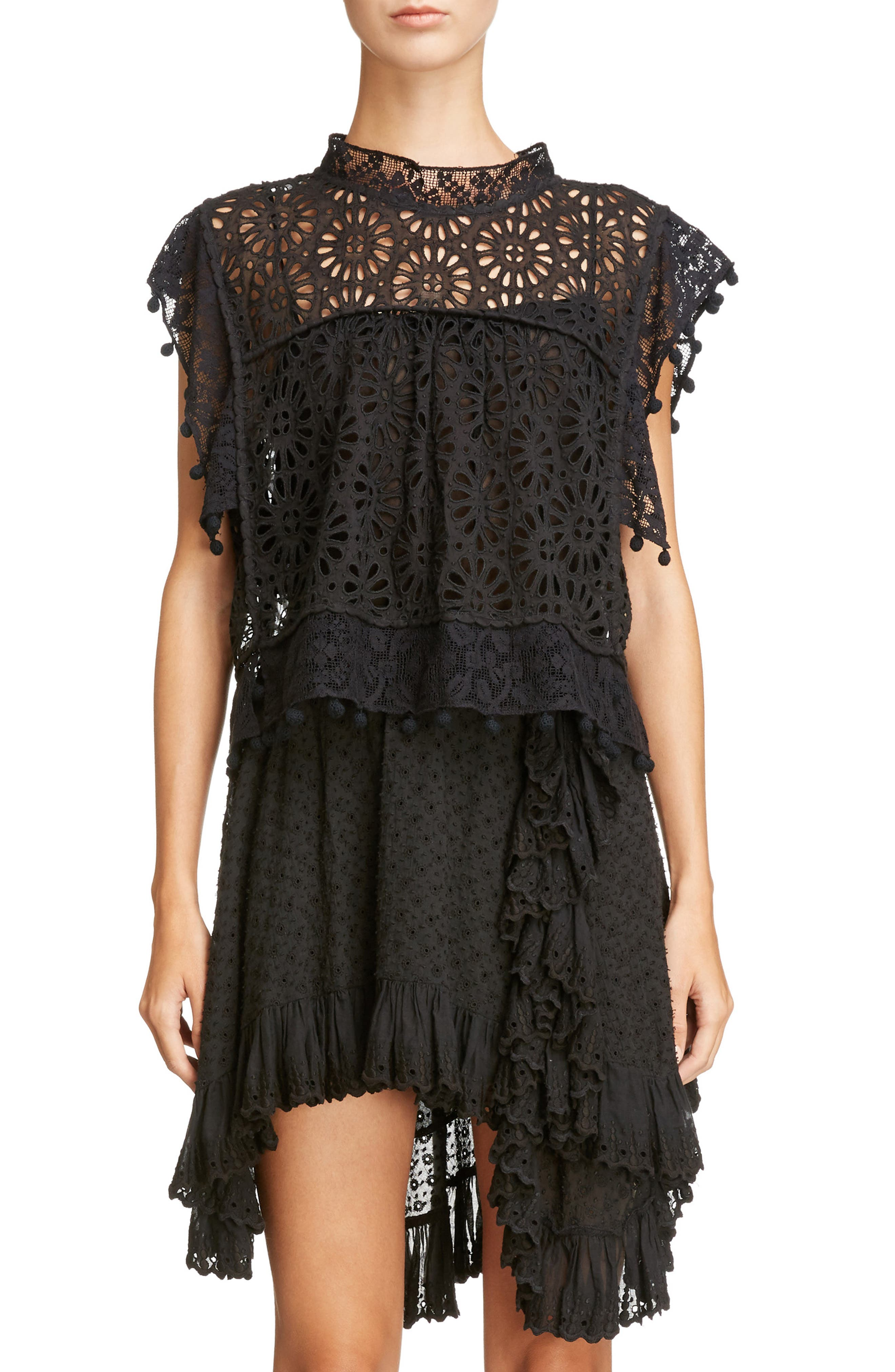 Isabel Marant Pompom Trim Broderie Anglaise Top
