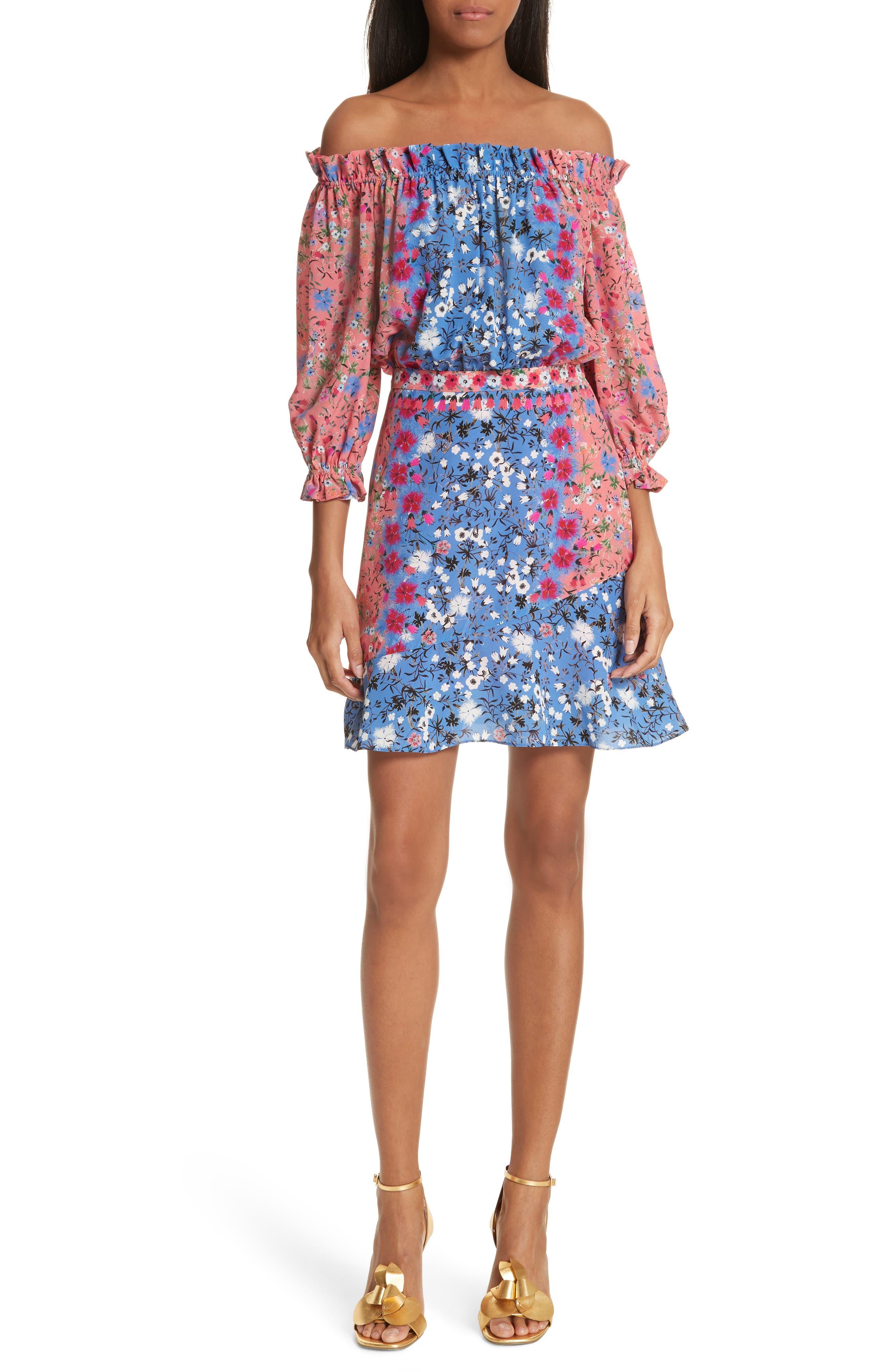 Grace Off the Shoulder Silk Dress,                         Main,                         color, Foxglove Meadow