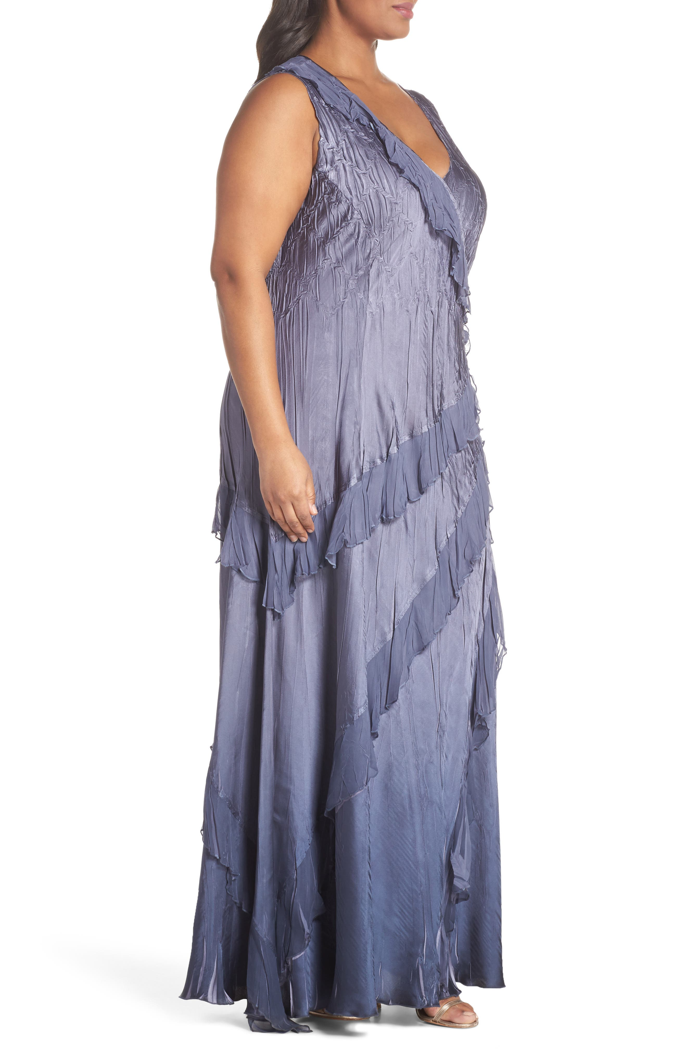 Ruffle Charmeuse Gown with Wrap,                             Alternate thumbnail 3, color,                             Purple Sage Night Ombre