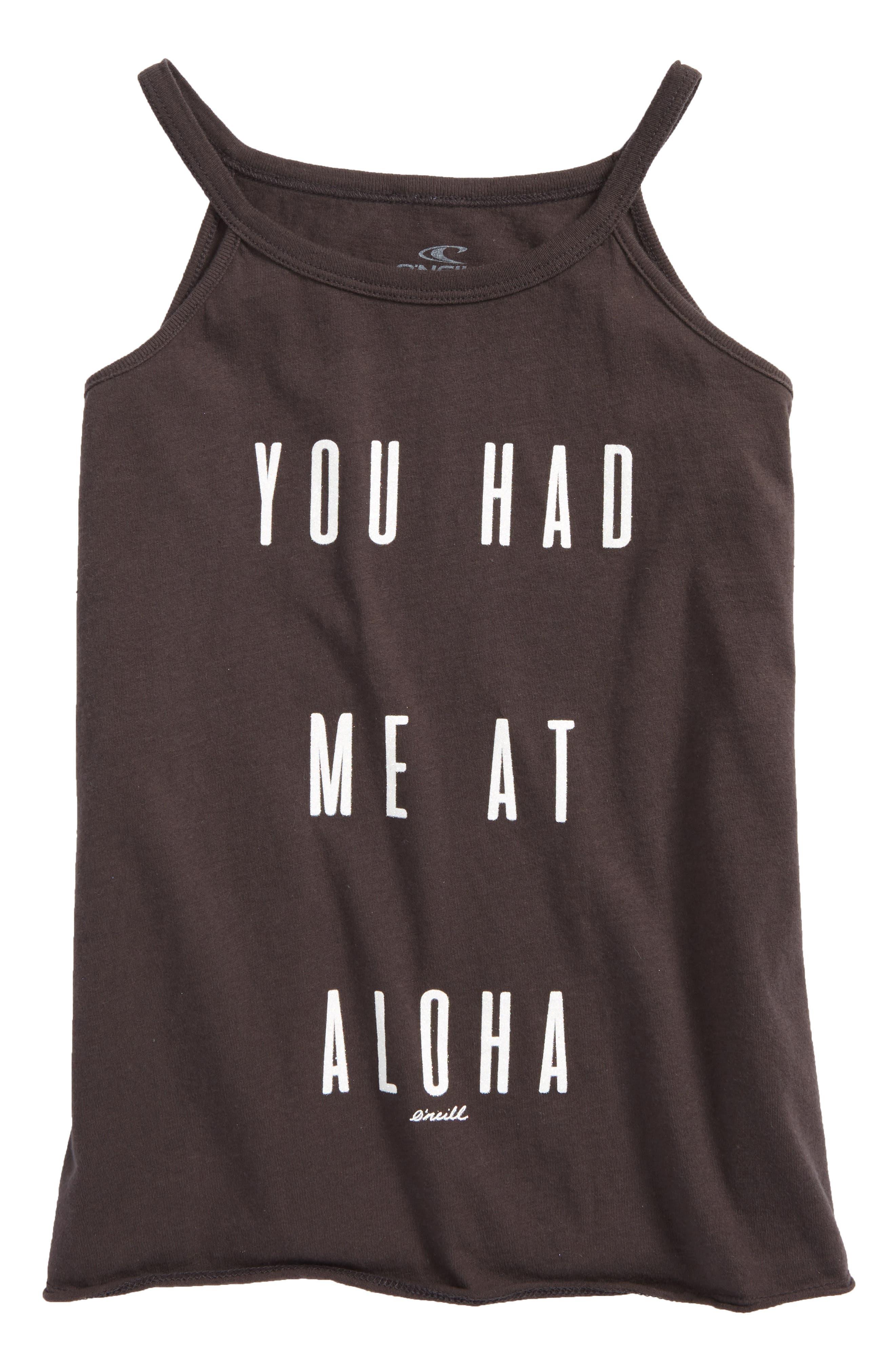 Aloha Graphic Tank,                             Main thumbnail 1, color,                             Washed Black