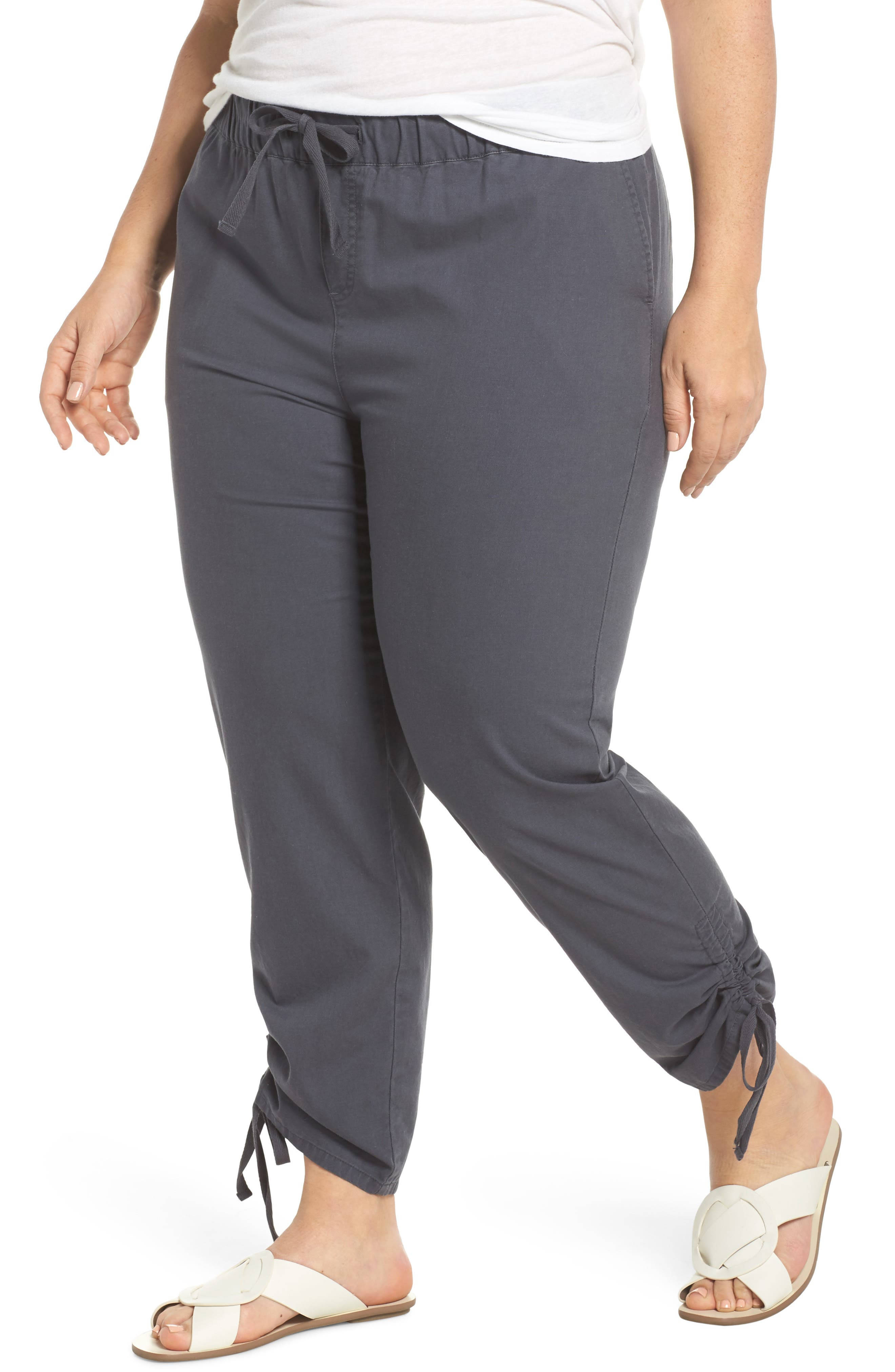 Side Ruched Ankle Pants,                         Main,                         color, Grey Ebony