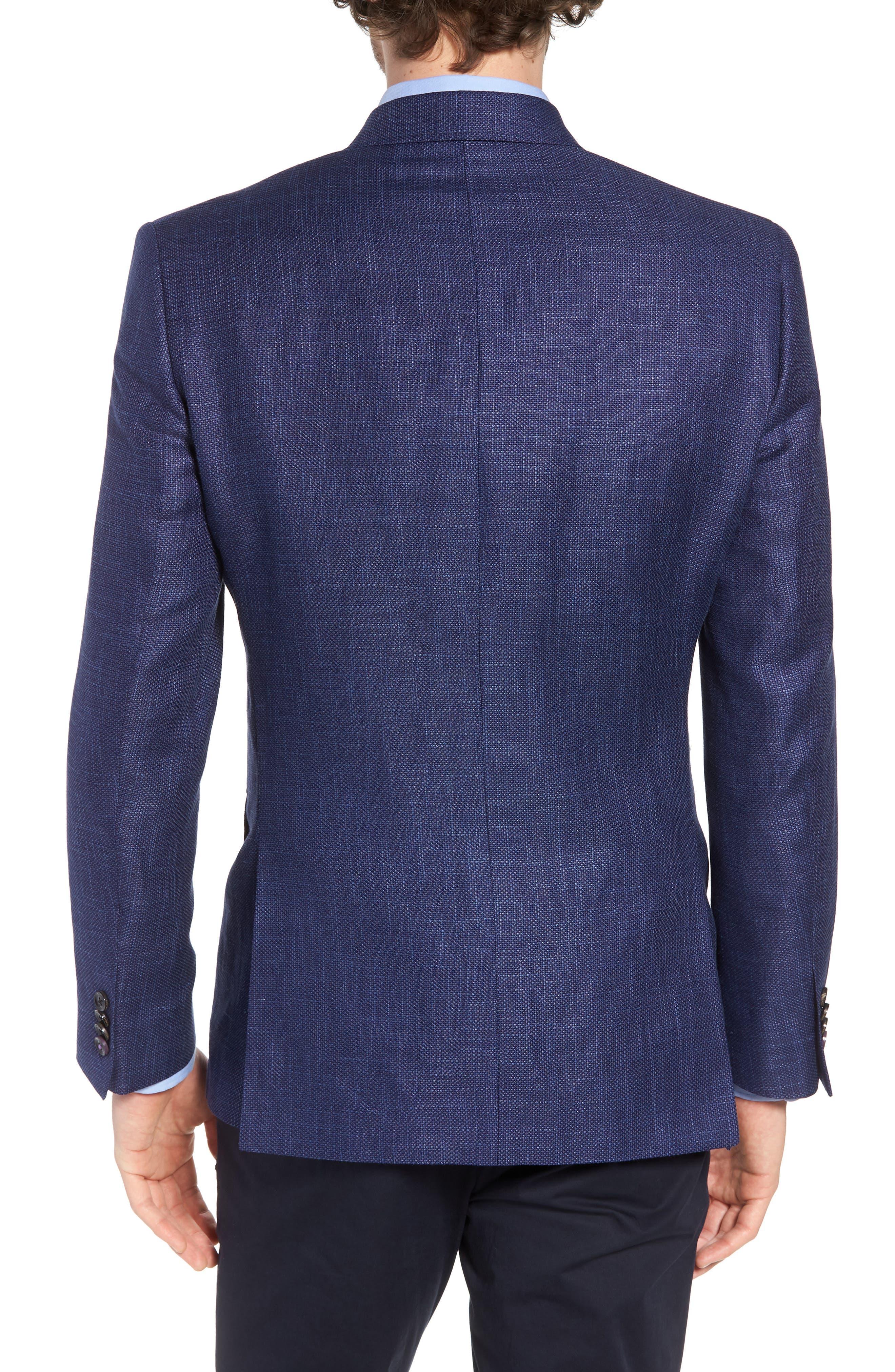 Jay Trim Fit Linen & Wool Blazer,                             Alternate thumbnail 2, color,                             Blue