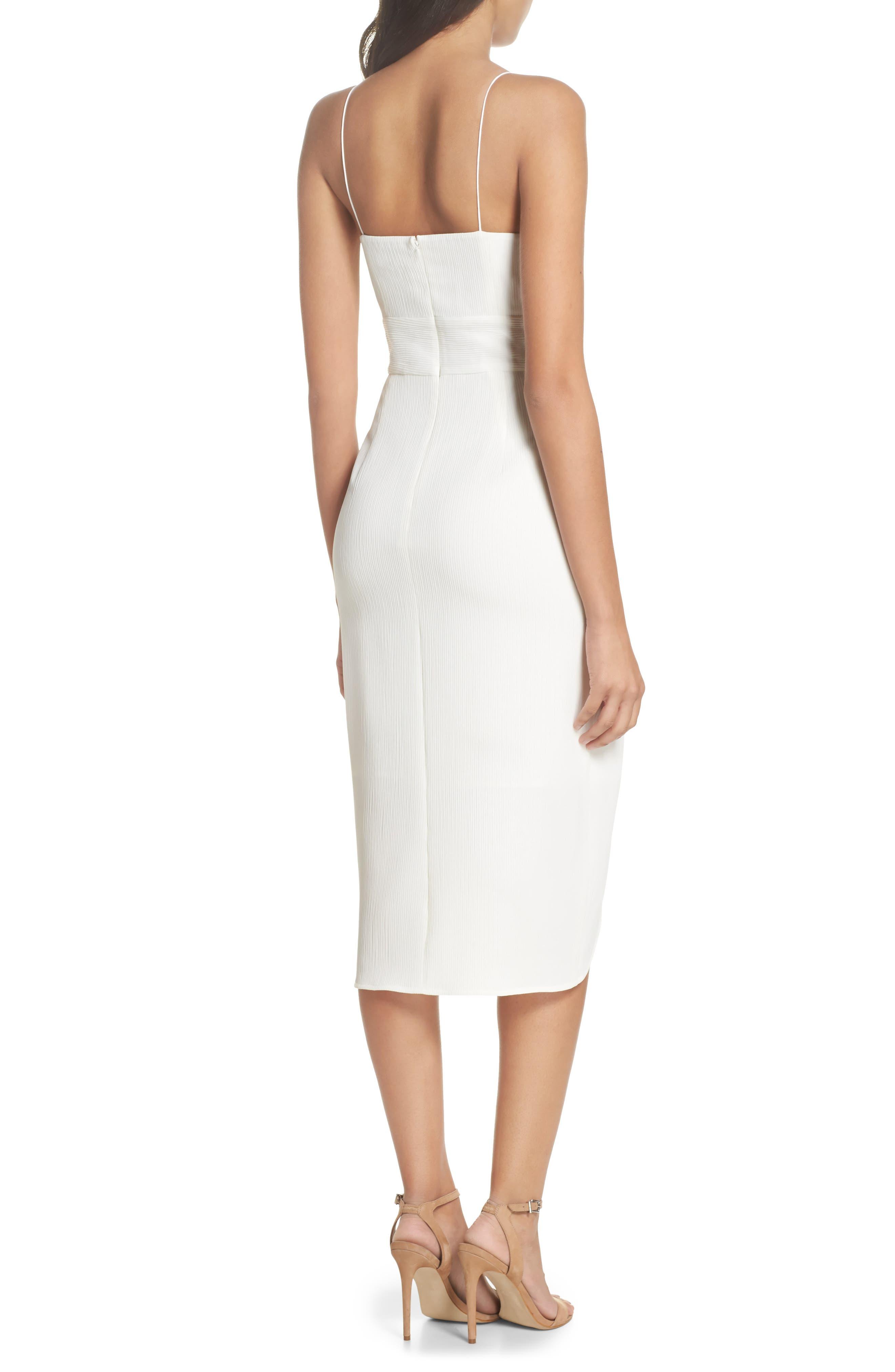 Micro Pleat Tulip Hem Dress,                             Alternate thumbnail 2, color,                             White Snow