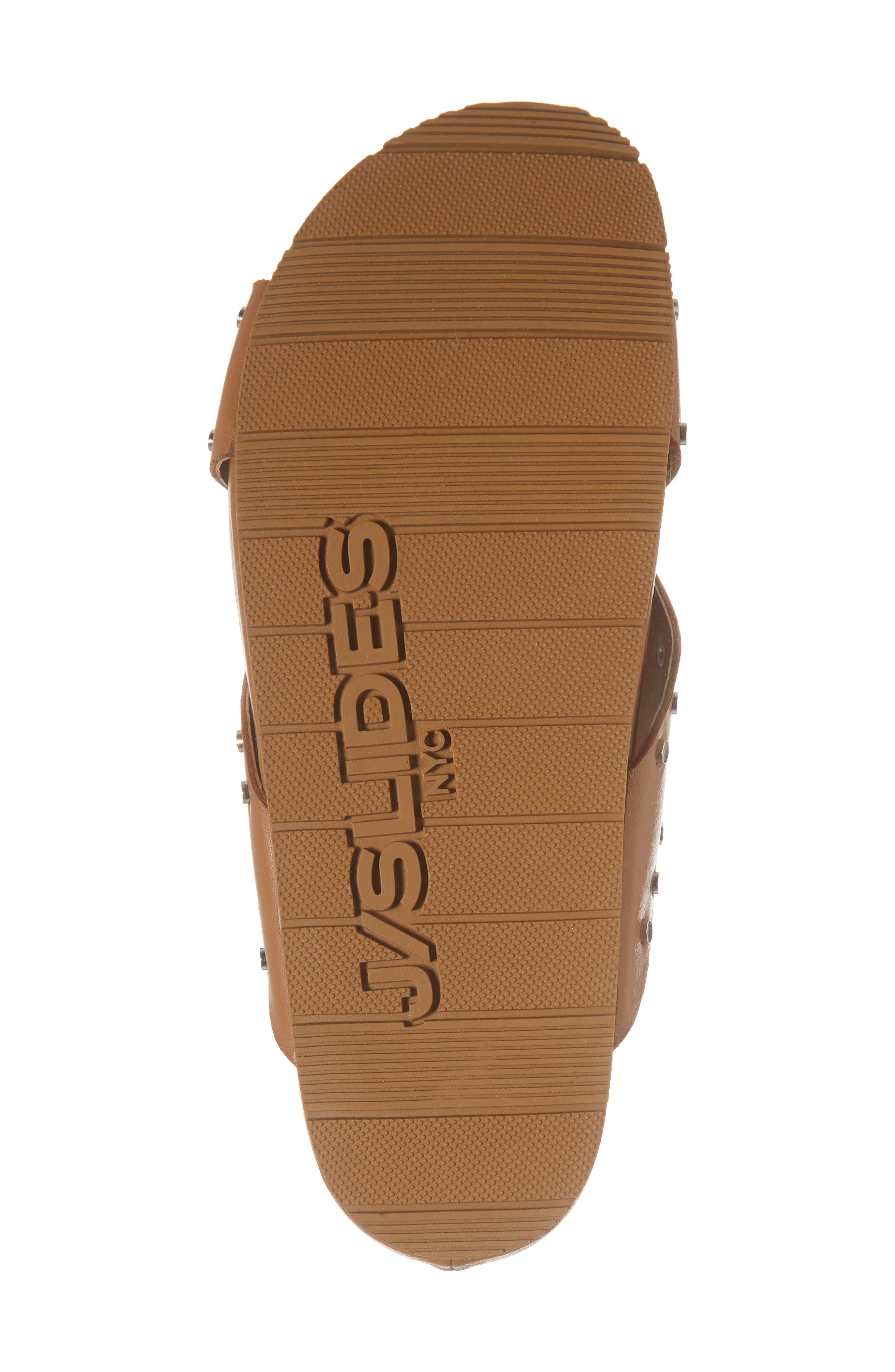 Ellie Studded Slide Sandal,                             Alternate thumbnail 6, color,                             Tan Leather