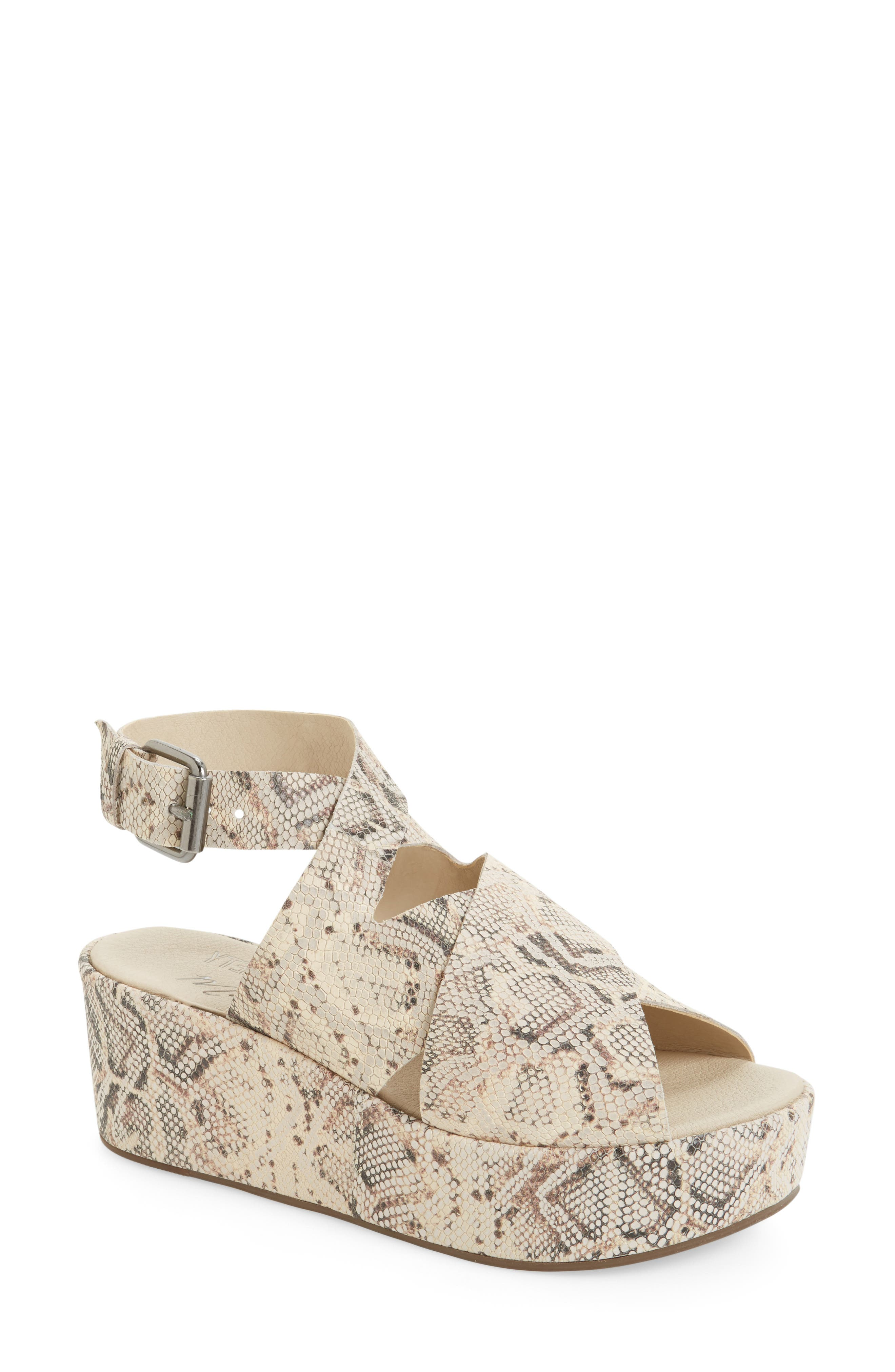 Runway Wedge Sandal,                         Main,                         color, Natural Snake Print Leather