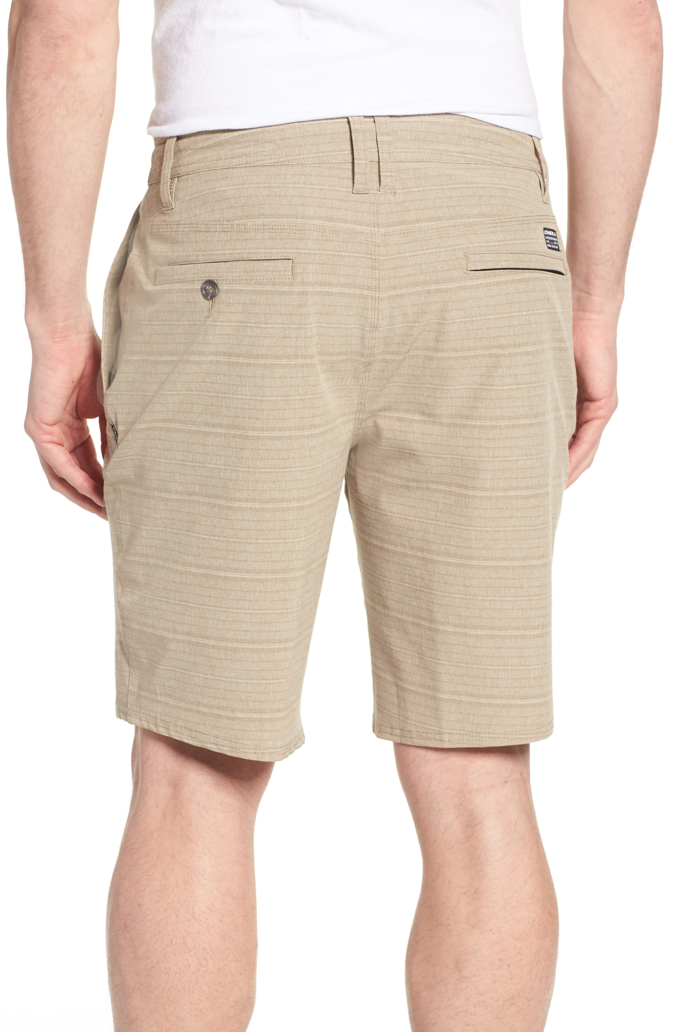 Locked Stripe Hybrid Shorts,                             Alternate thumbnail 2, color,                             Khaki
