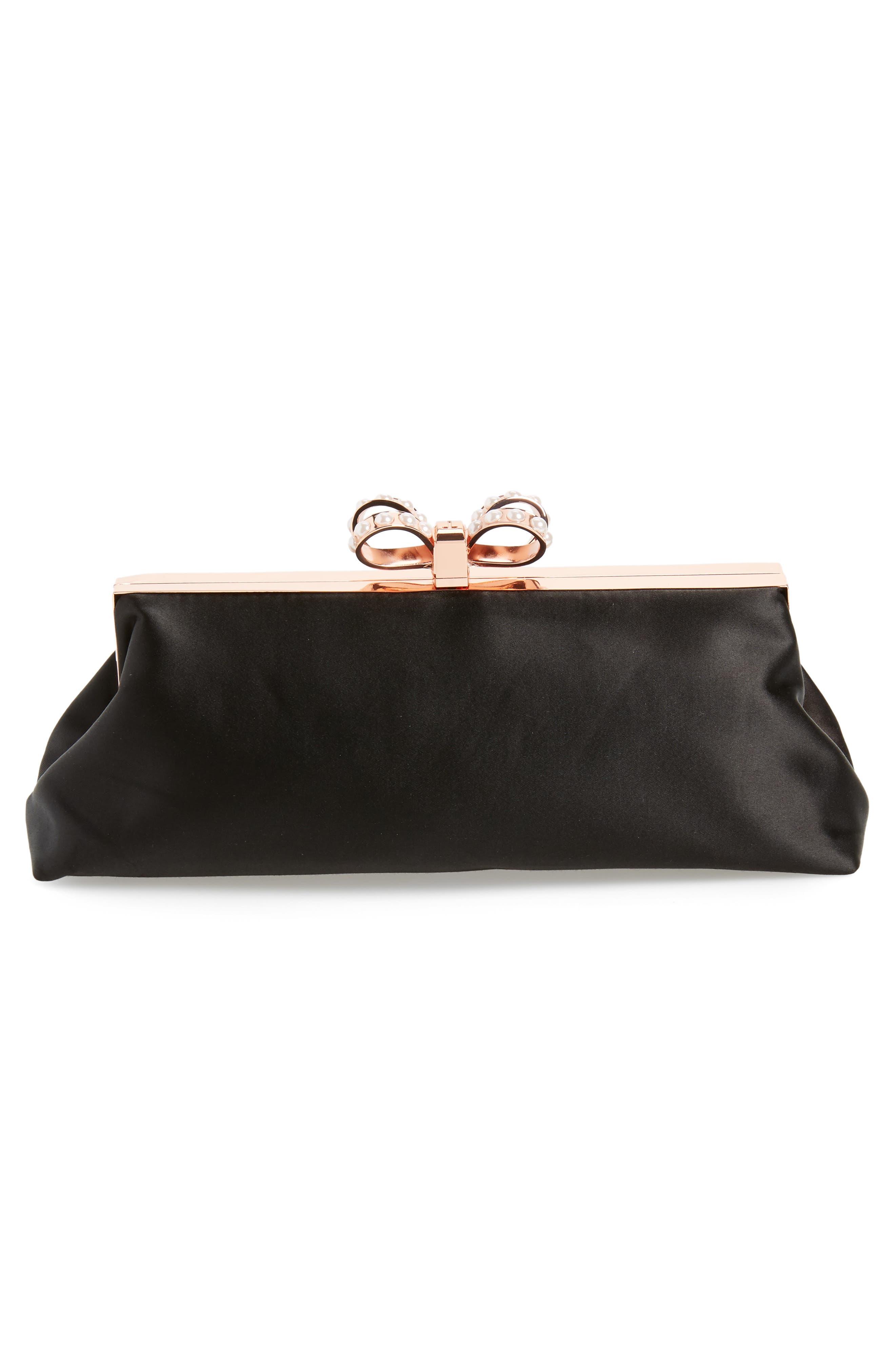 Georgaa Bow Clasp Evening Bag,                             Alternate thumbnail 3, color,                             Black