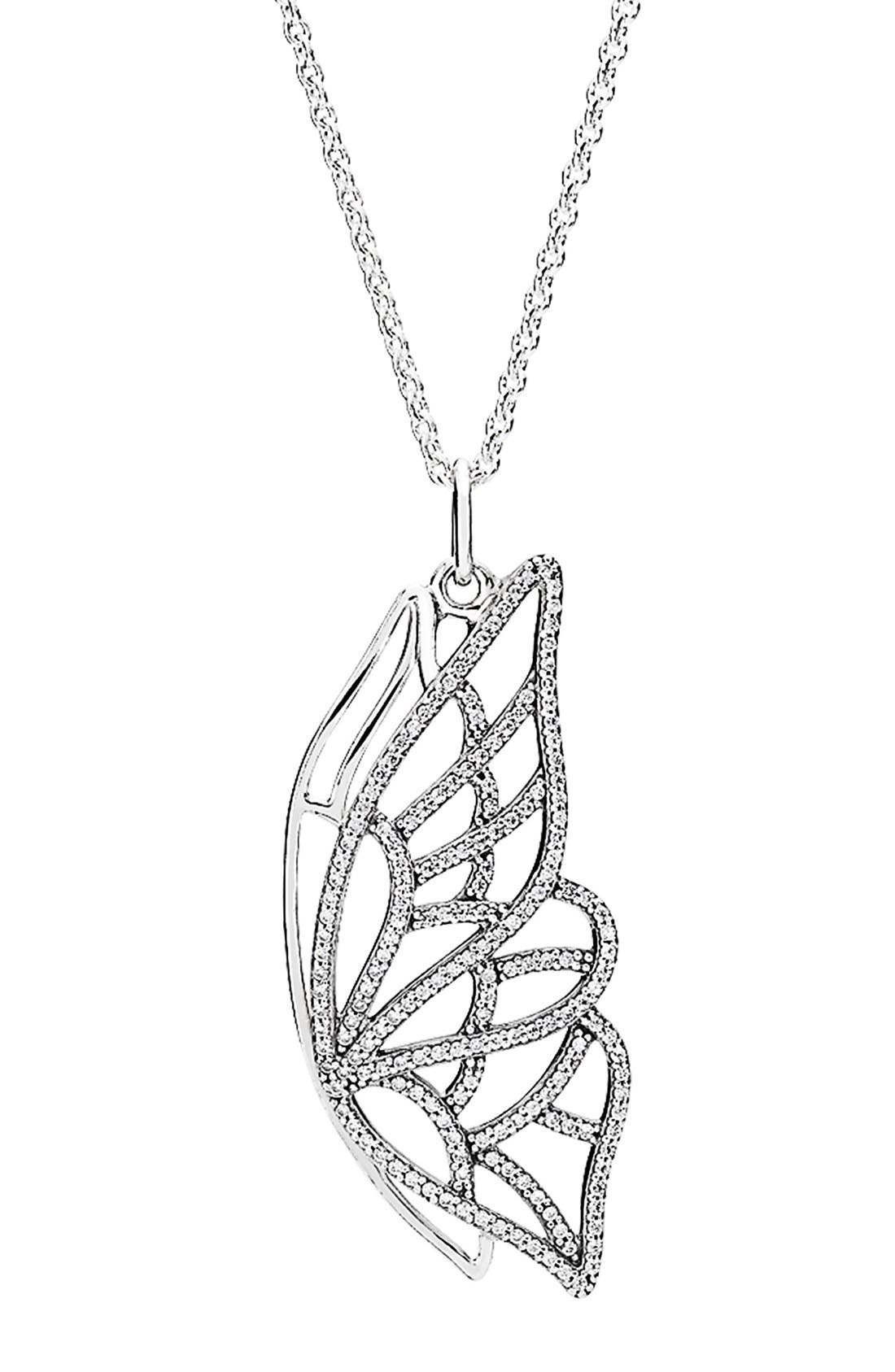Alternate Image 1 Selected - PANDORA 'New Beginning' Butterfly Pendant Necklace