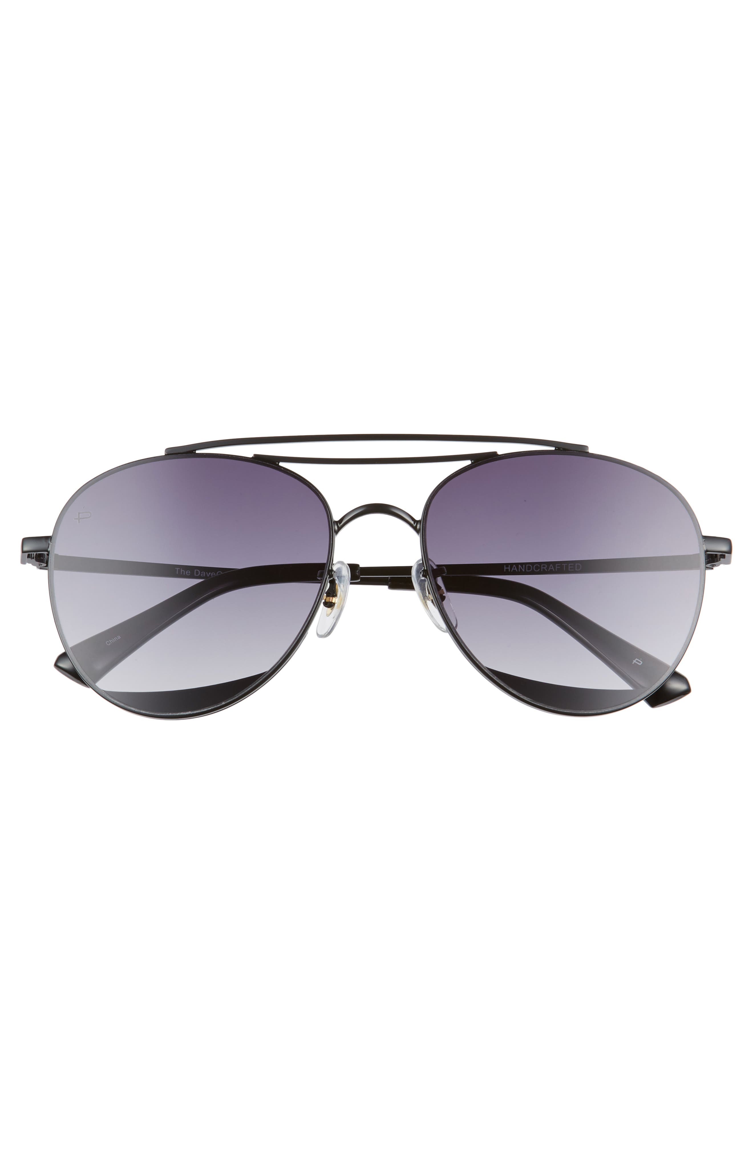 Privé Revaux The Dave O 57mm Aviator Sunglasses,                             Alternate thumbnail 4, color,                             Black/ Purple