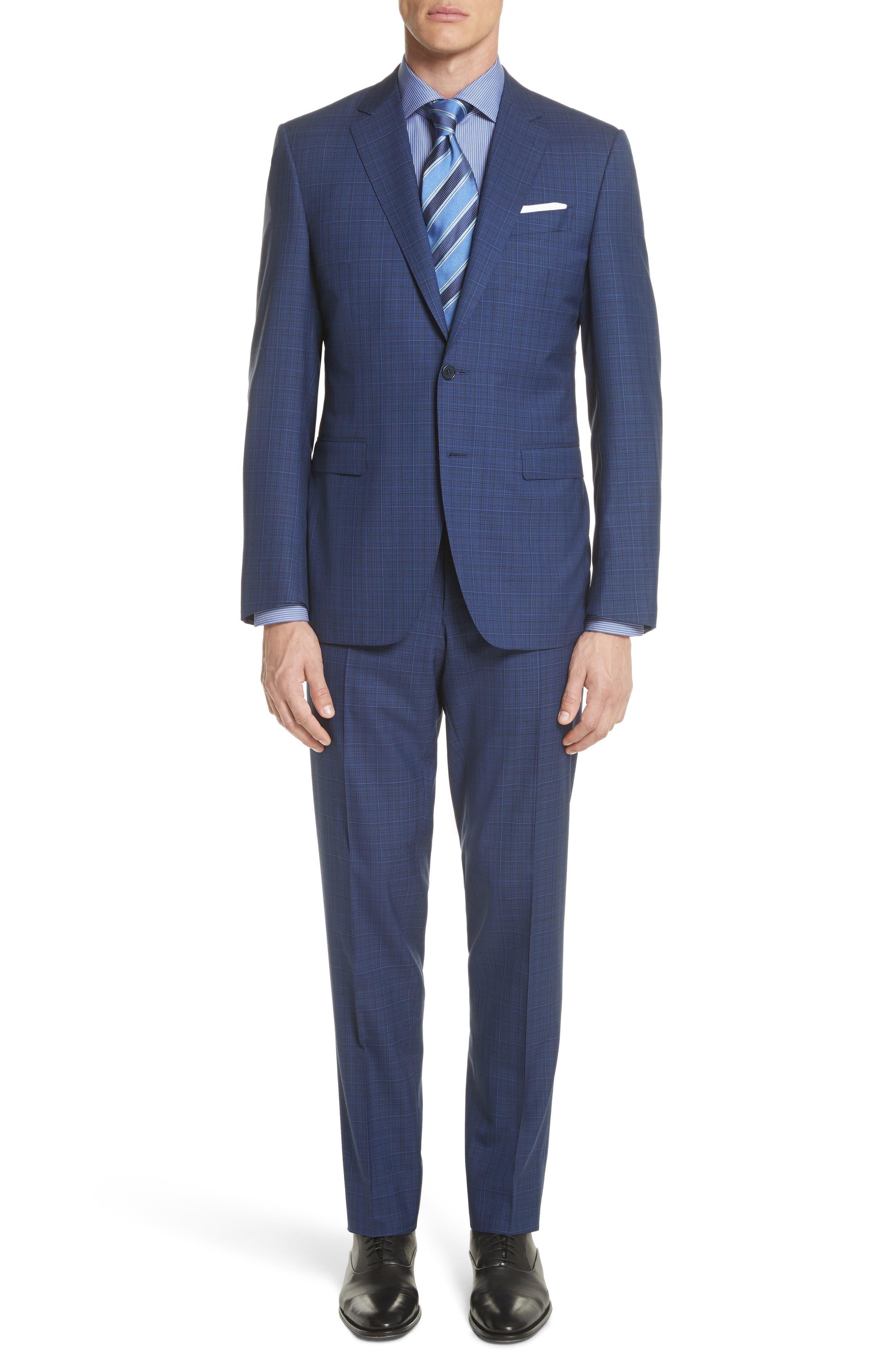 Classic Fit Tonal Plaid Wool Suit,                         Main,                         color, Blue