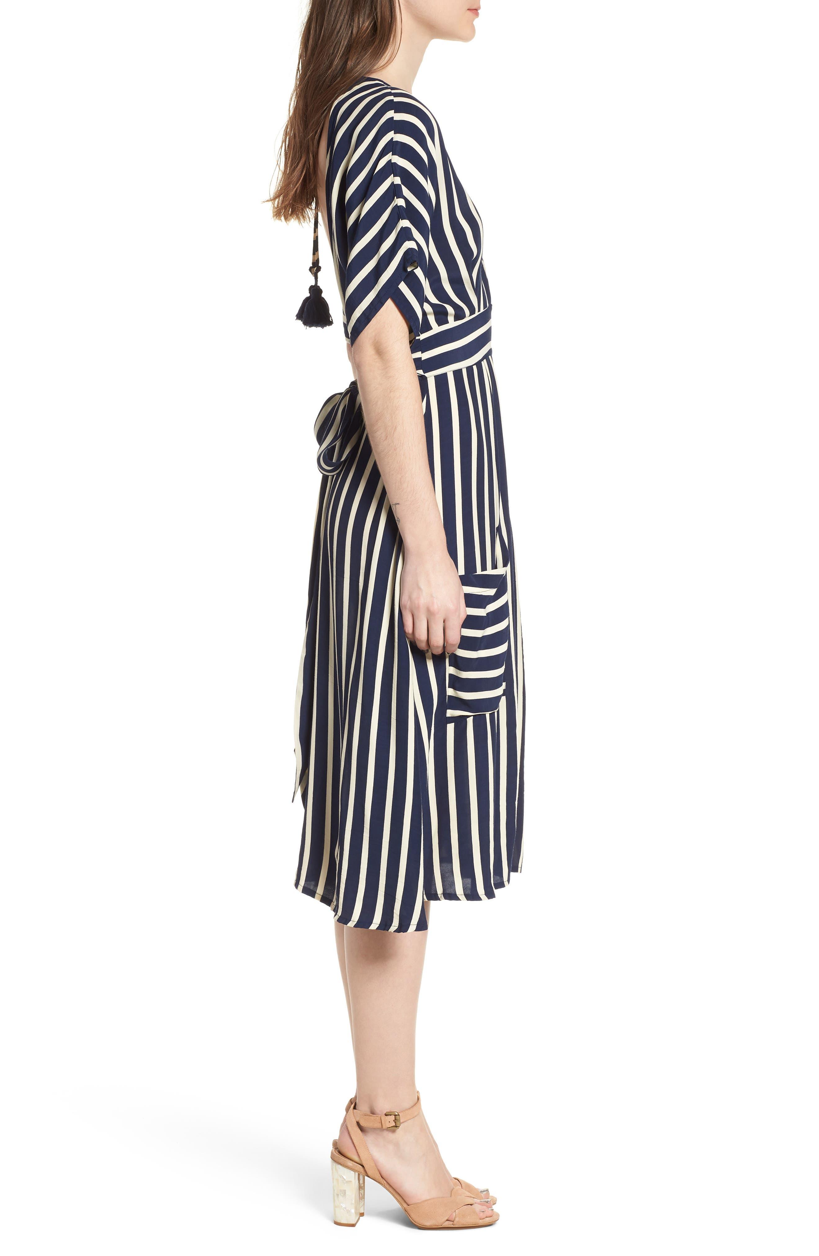Milan Stripe Midi Dress,                             Alternate thumbnail 3, color,                             Mazur Stripe Print Navy