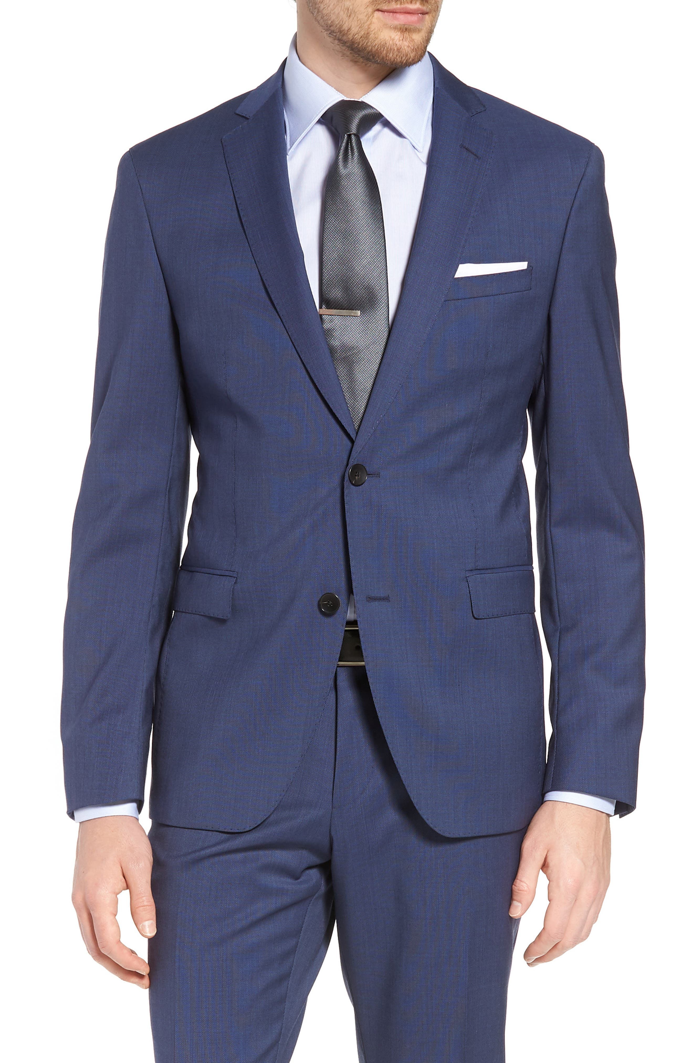Reyno/Wave Extra Trim Fit Solid Wool Suit,                             Alternate thumbnail 5, color,                             Medium Blue