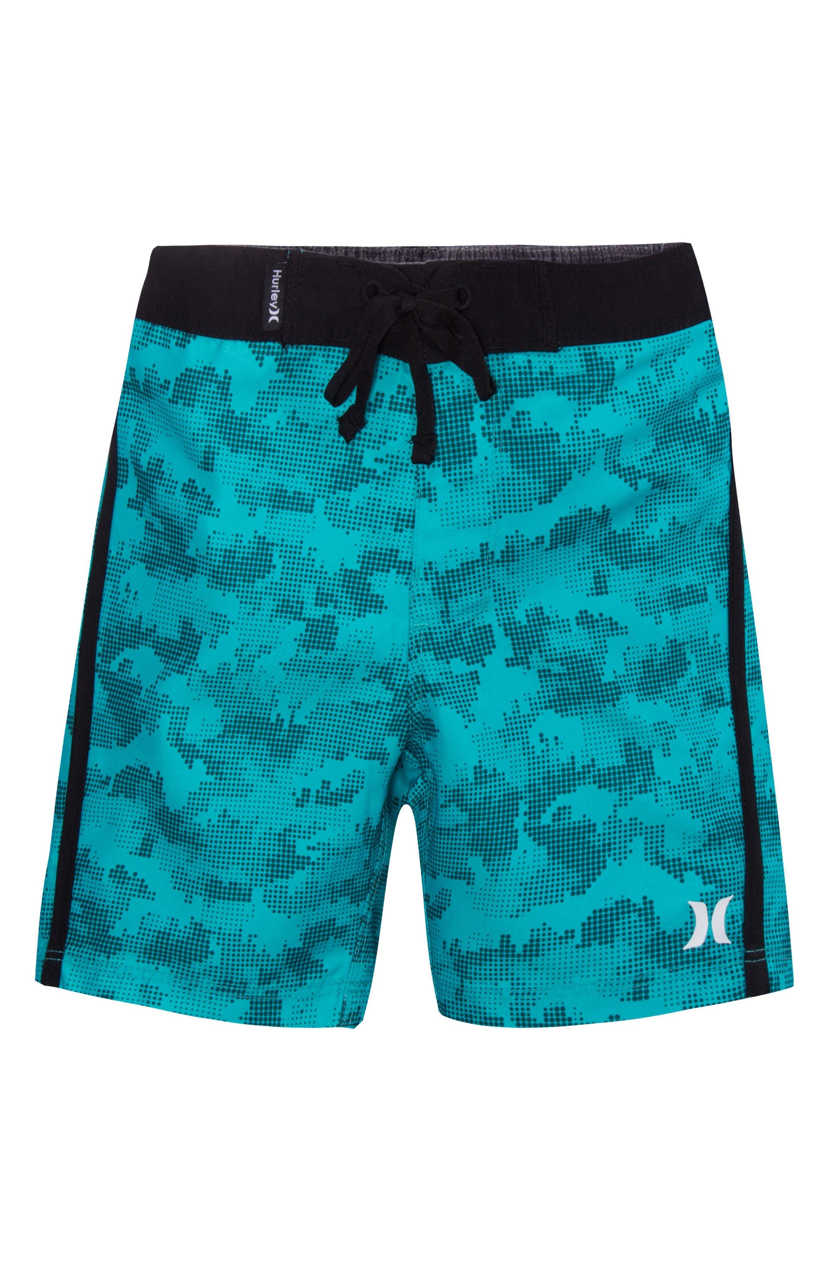 Micro Camo Board Shorts,                         Main,                         color, Clear Jade