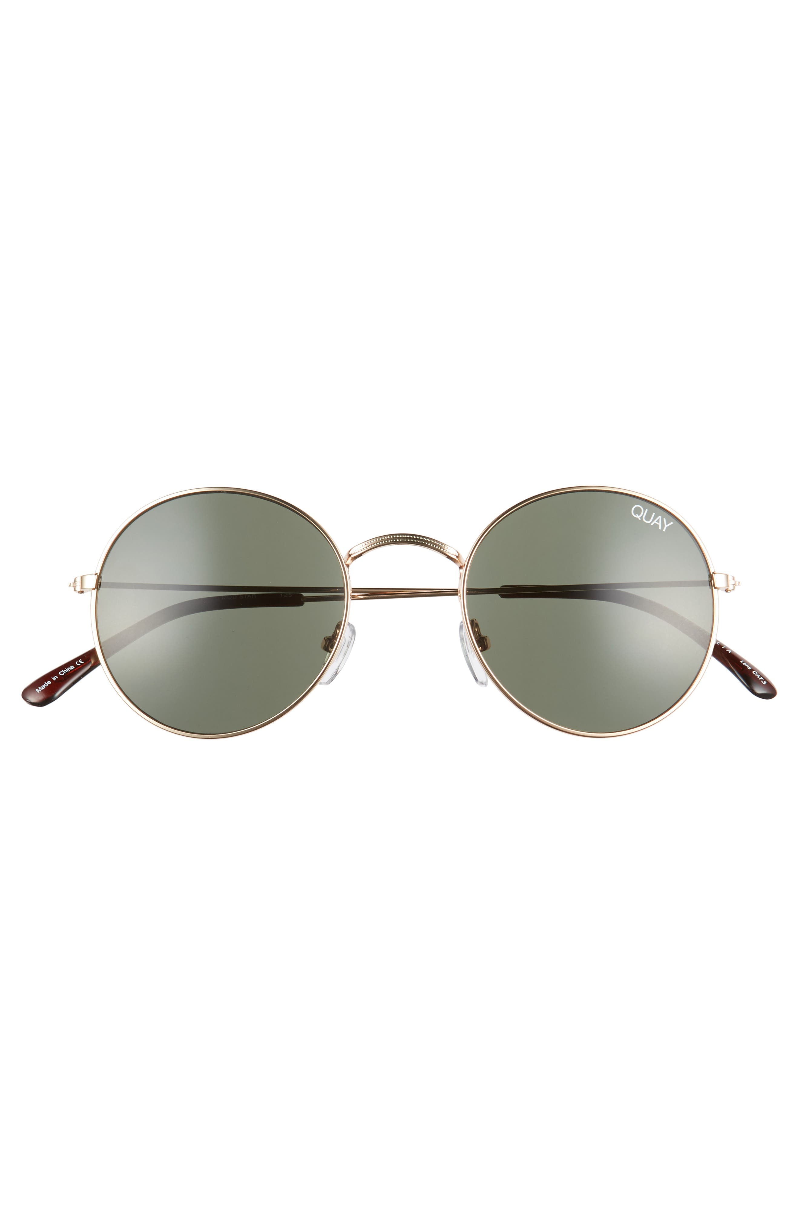 50mm Mod Star Round Sunglasses,                             Alternate thumbnail 3, color,                             Gold/ Green