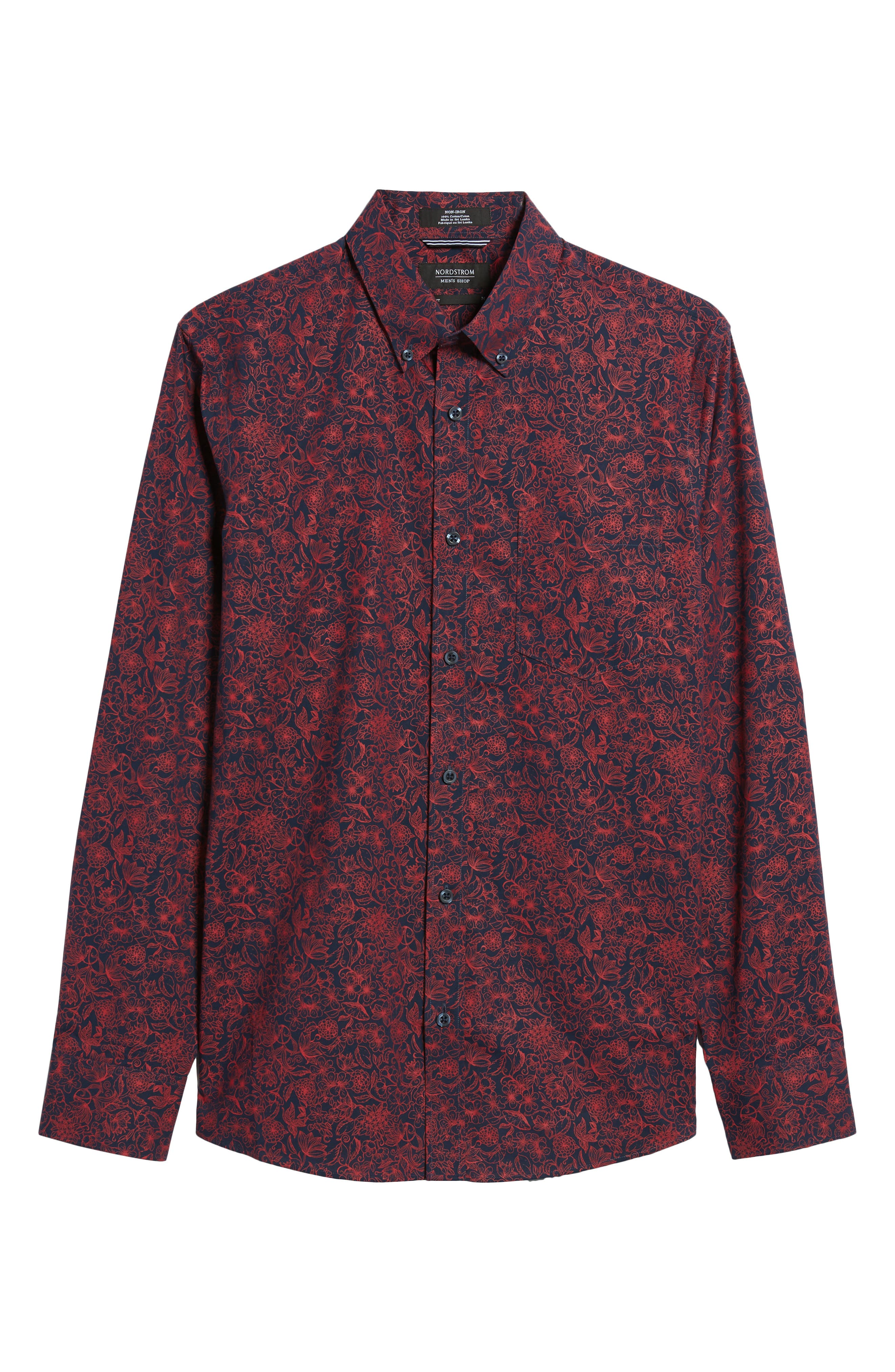 Trim Fit Non-Iron Floral Sport Shirt,                             Alternate thumbnail 6, color,                             Navy Iris Red Bloom