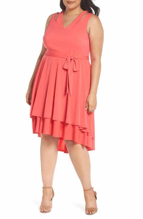 Vince Camuto Split Shoulder High/Low Knit Dress (Plus Size)