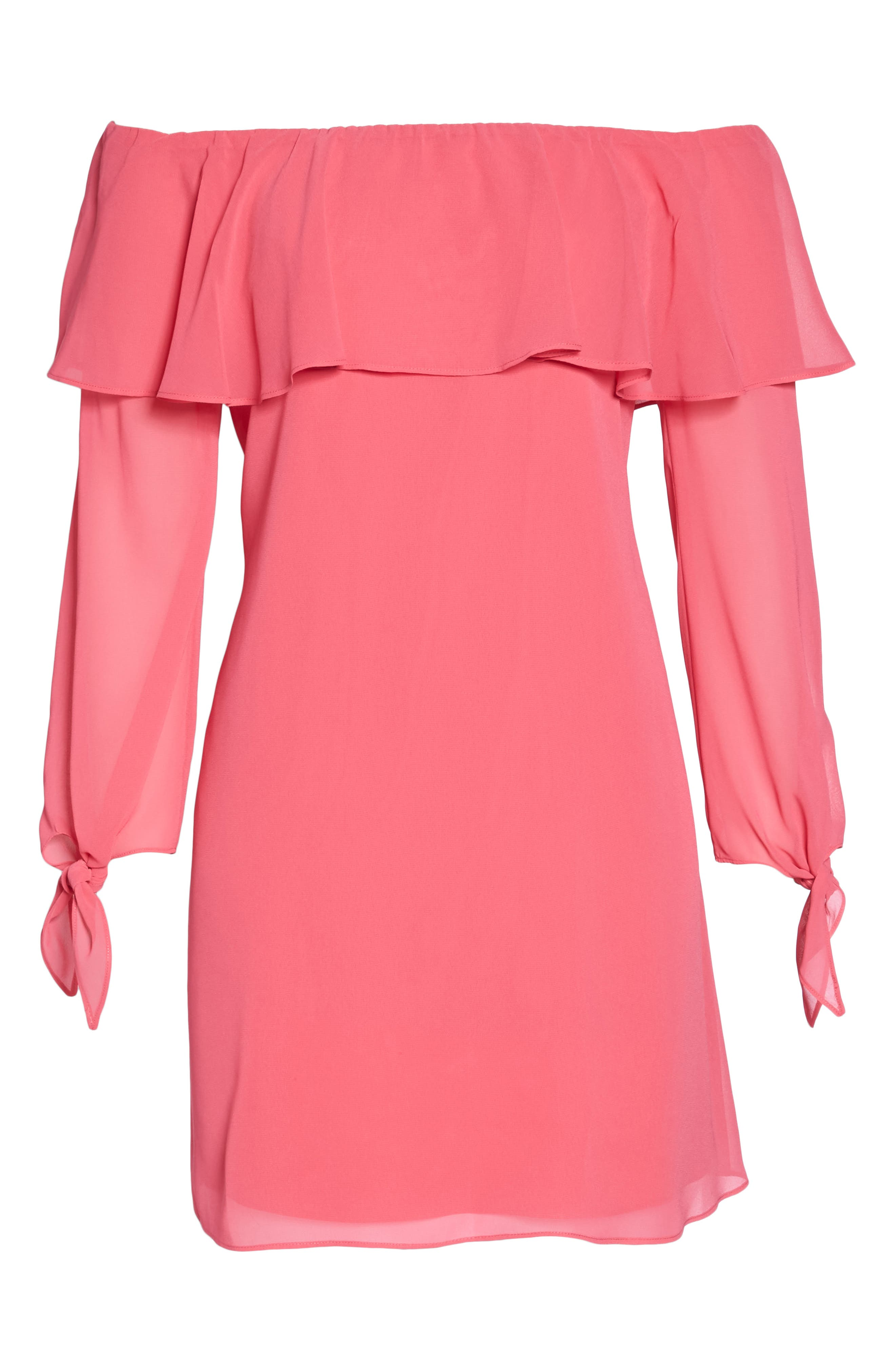 Off the Shoulder Tie-Cuff Shift Dress,                             Alternate thumbnail 7, color,                             Hot Pink