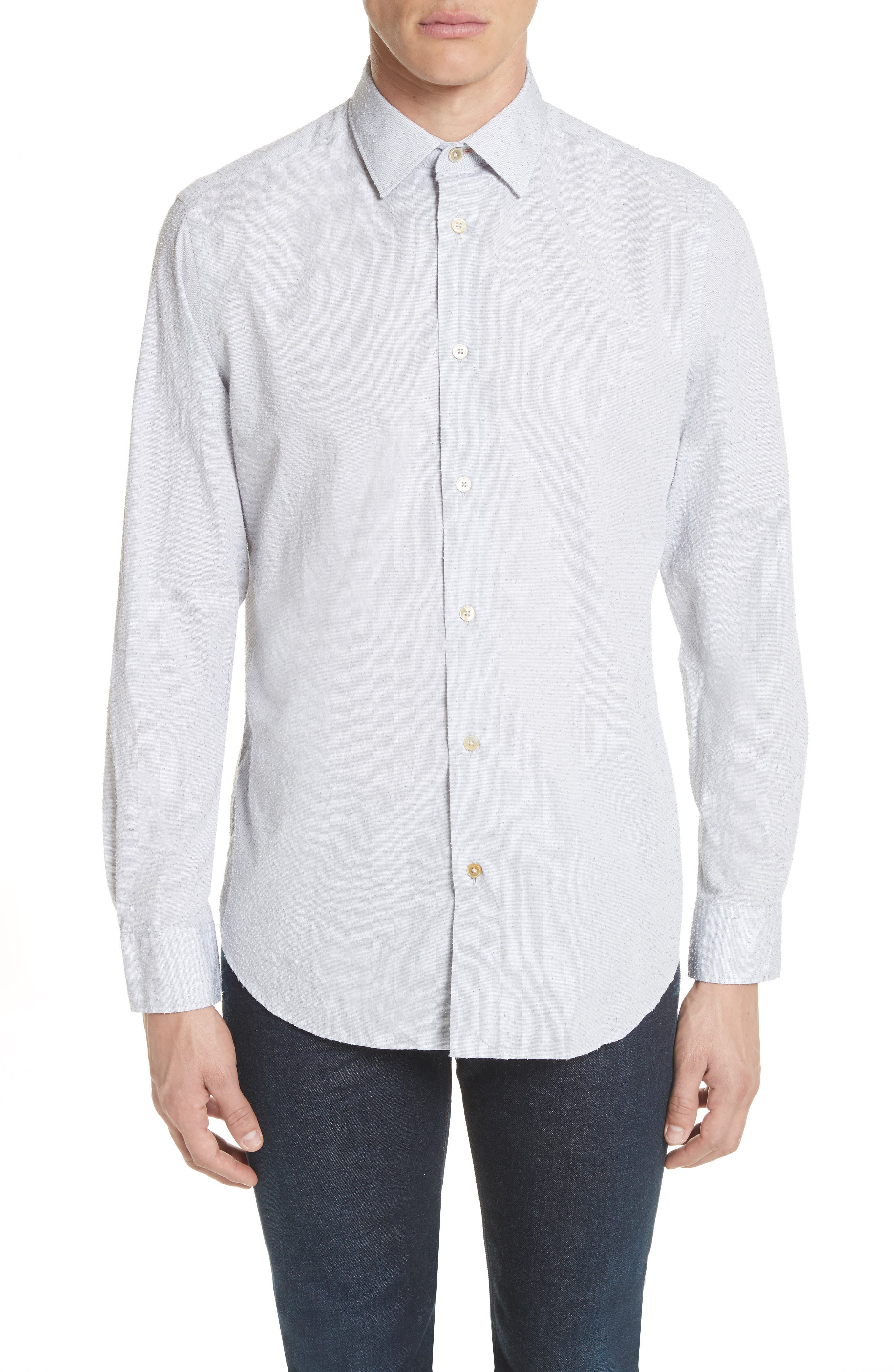 Nep Dot Woven Shirt,                         Main,                         color, Blue