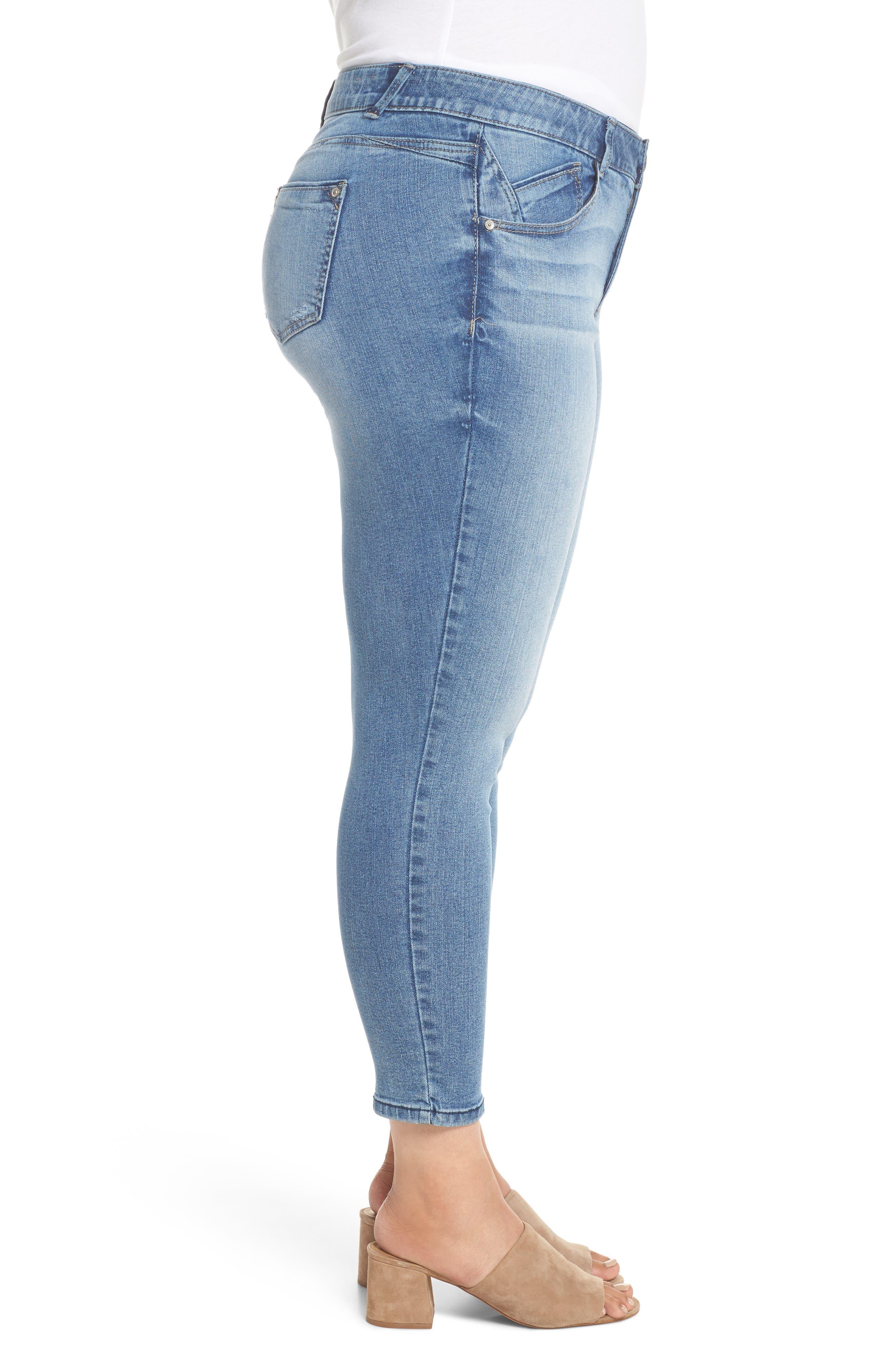 Ab-solution Stretch Ankle Skimmer Jeans,                             Alternate thumbnail 3, color,                             Light Blue