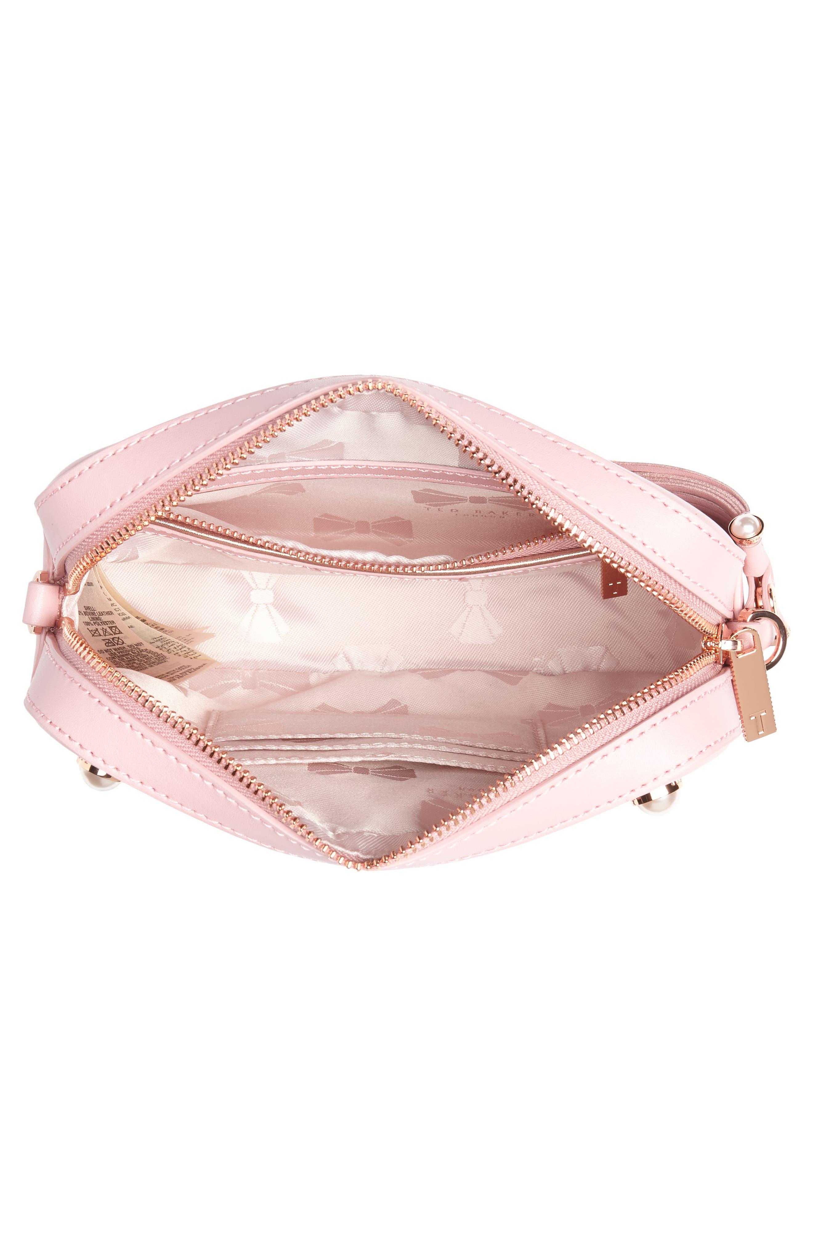 Alessia Imitation Pearl Embellished Leather Crossbody,                             Alternate thumbnail 4, color,                             Dusky Pink