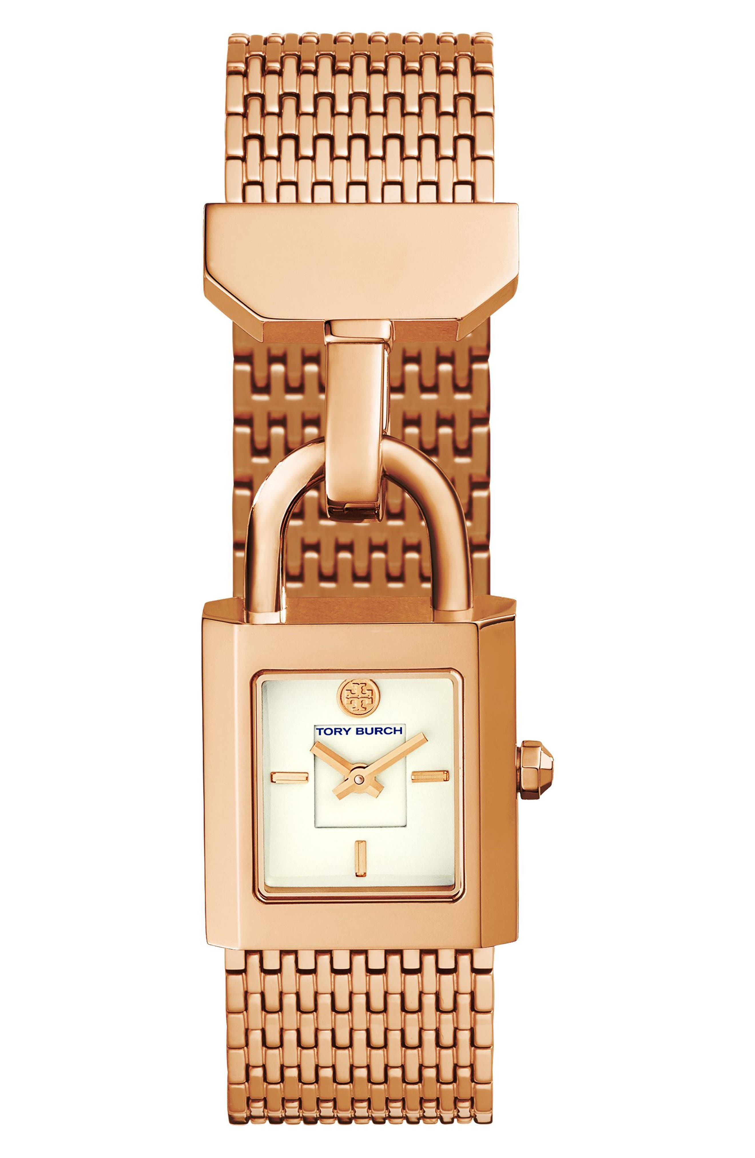 Surrey Mesh Bracelet Watch, 22mm x 23.5mm,                             Main thumbnail 1, color,                             Rose Gold/ Ivory/ Rose Gold