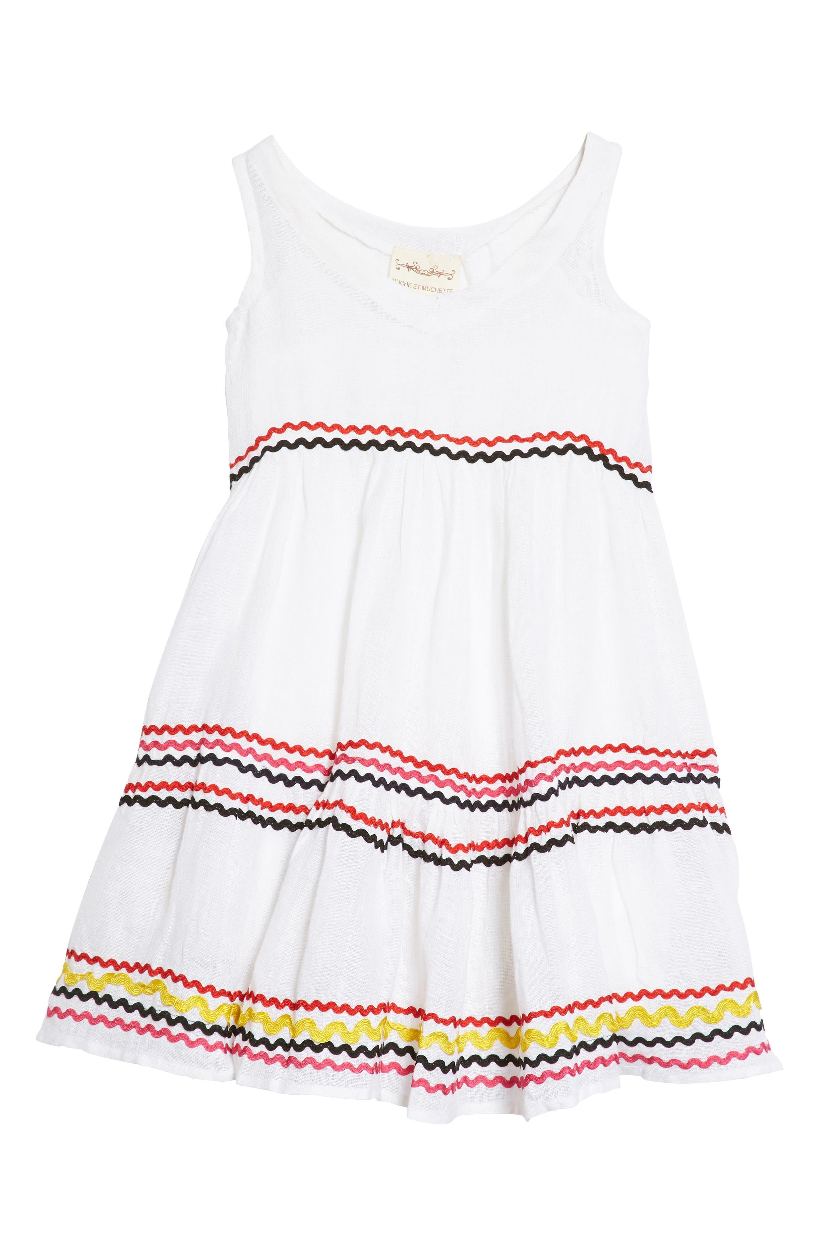 Mira Linen Dress,                         Main,                         color, Wht-Mlt