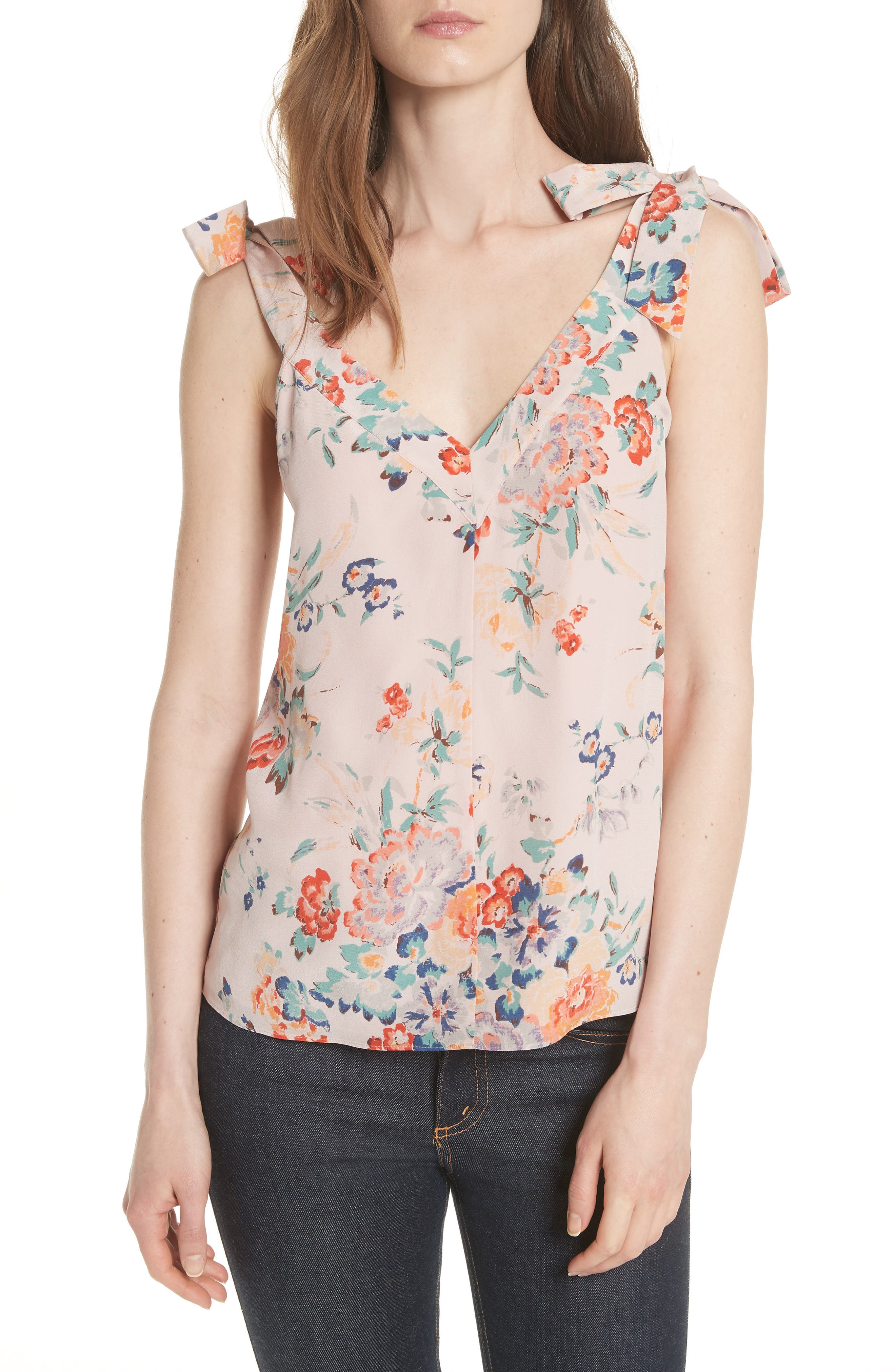 Marlena Floral Silk Tank,                             Main thumbnail 1, color,                             Dusty Rose Combo