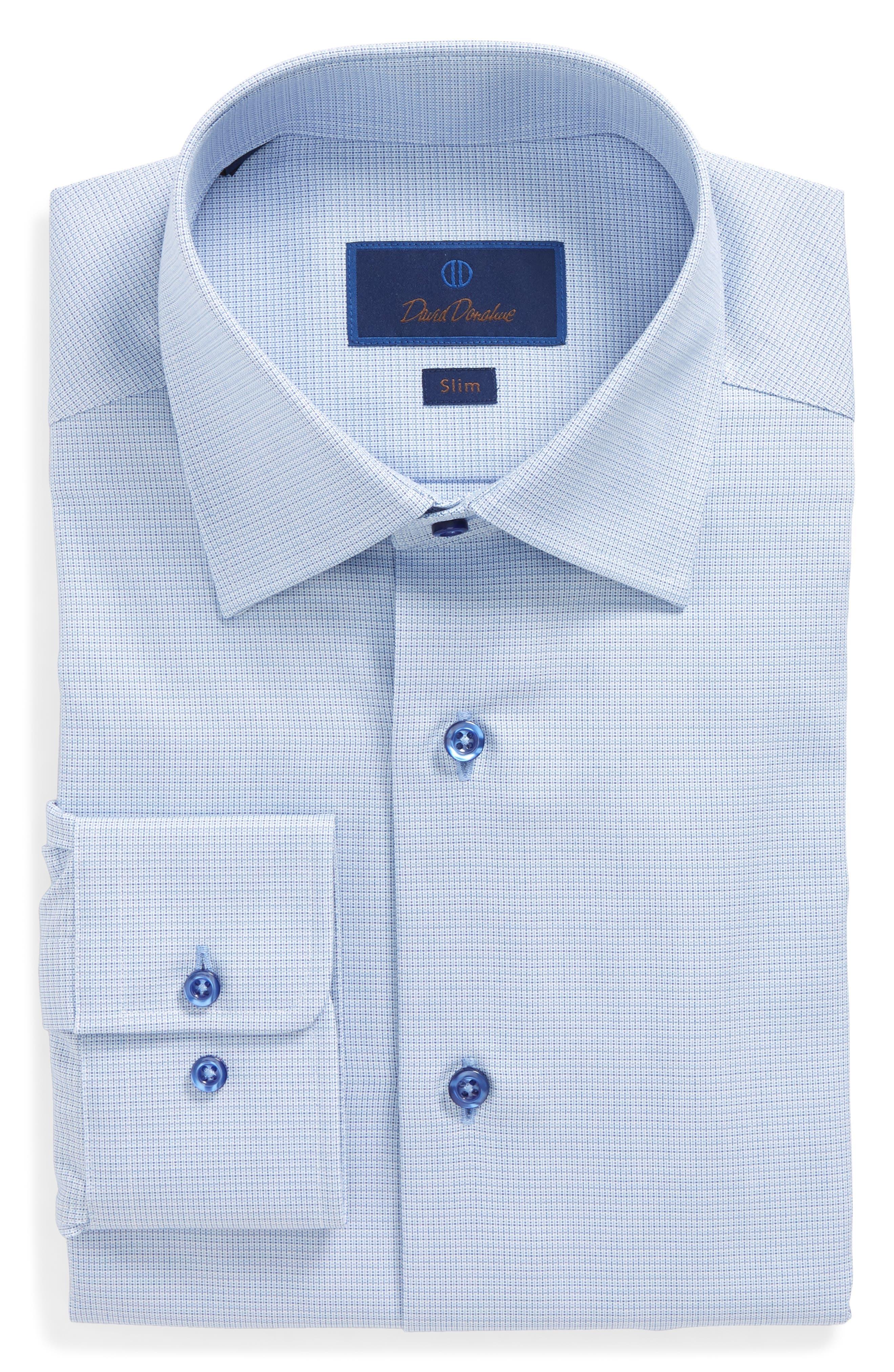 Main Image - David Donahue Print Slim Fit Dress Shirt