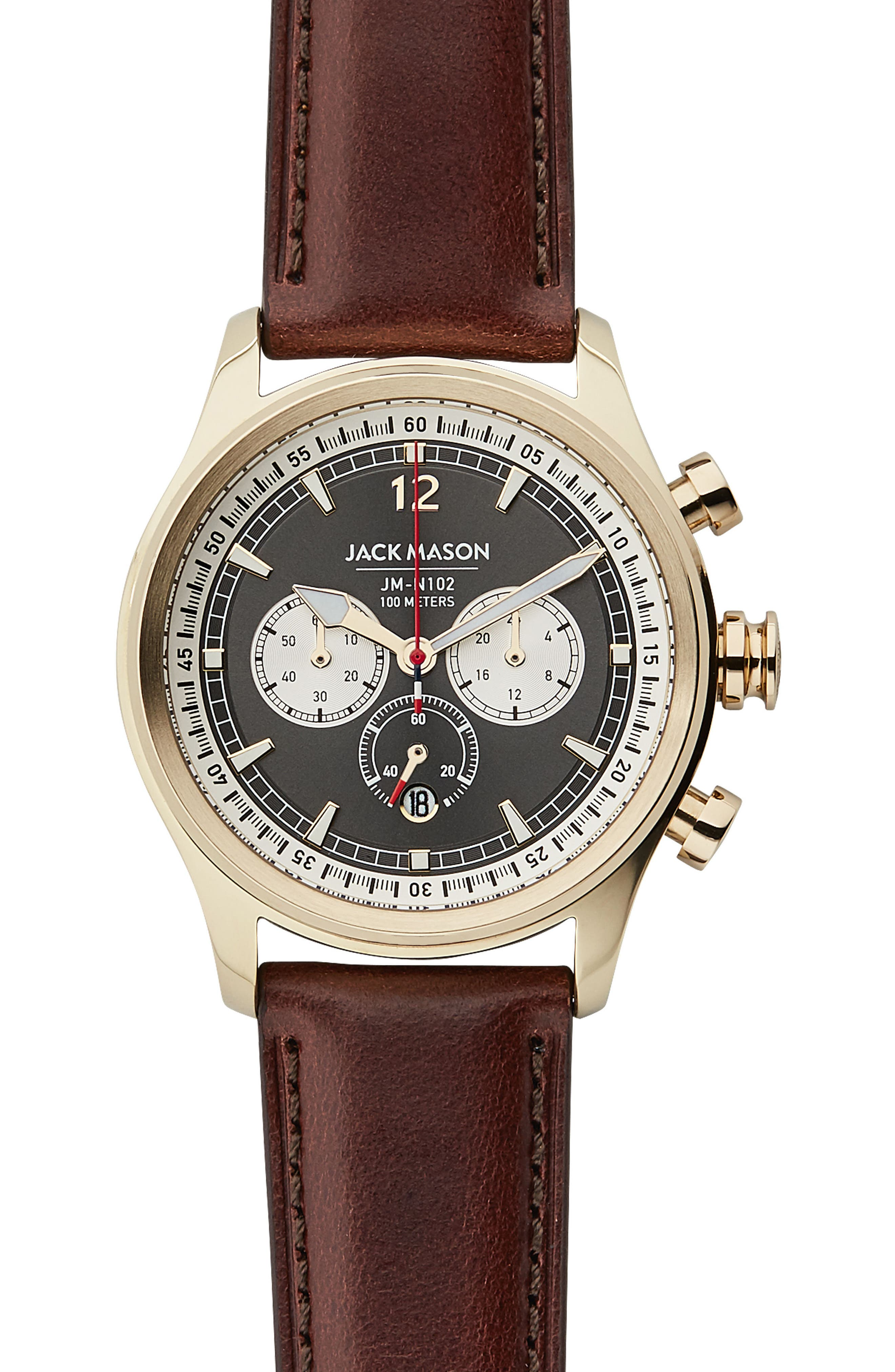 Nautical Chronograph Leather Strap Watch, 42mm,                             Main thumbnail 1, color,                             Grey/ Brown