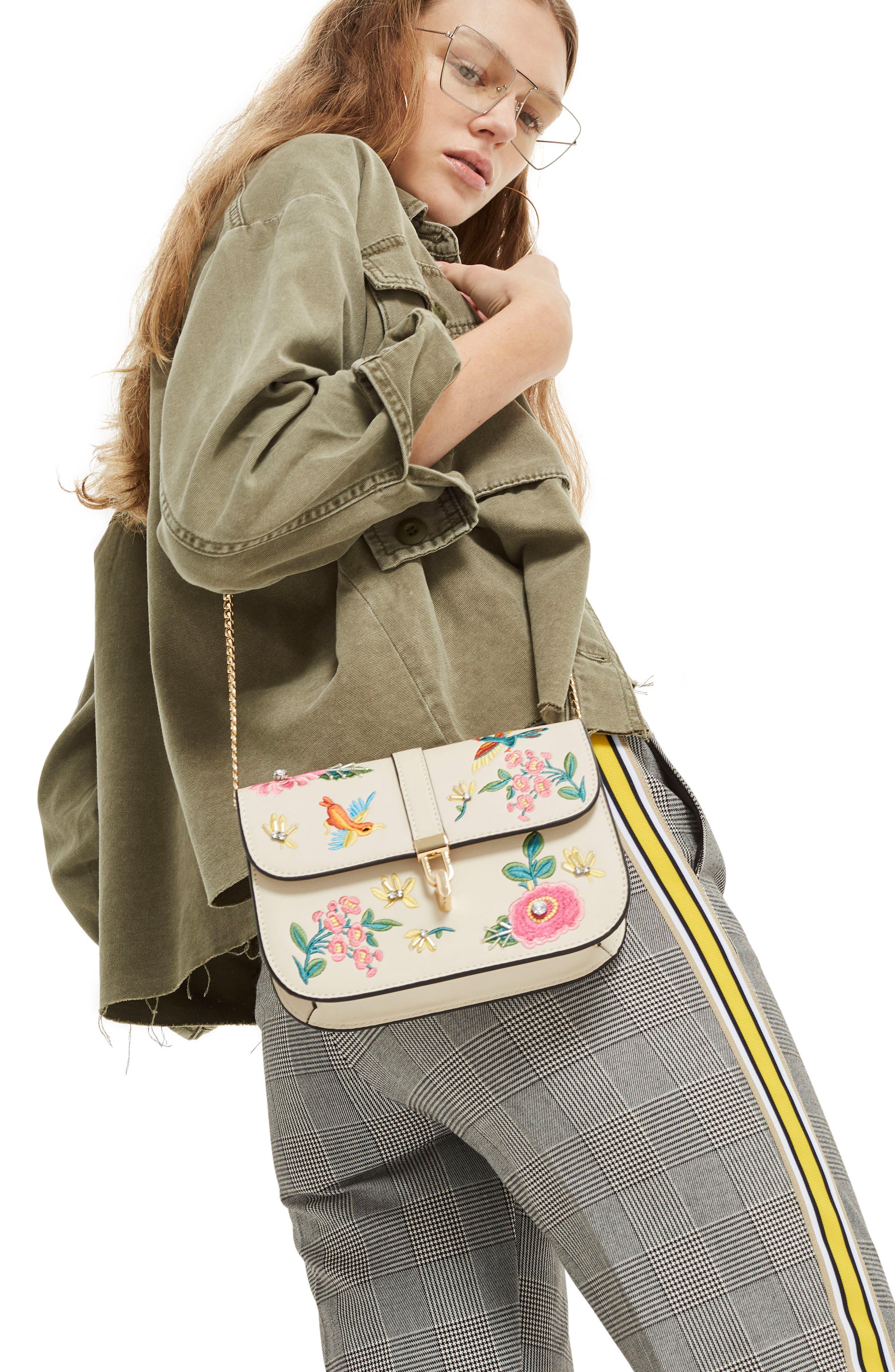 Hummingbird Embroidered Crossbody Bag,                             Alternate thumbnail 2, color,                             Cream Multi