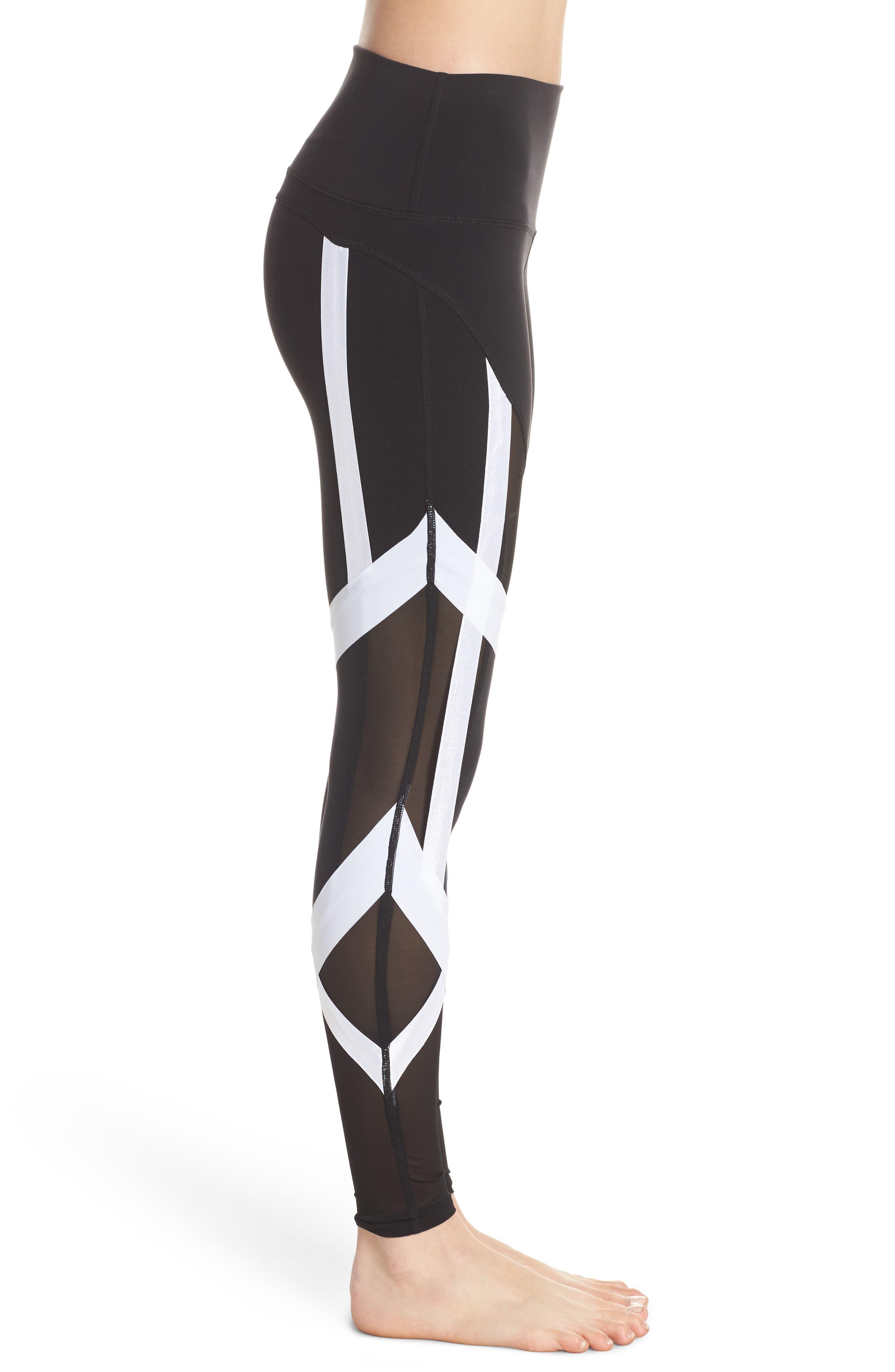 Tribe High Waist Leggings,                             Alternate thumbnail 3, color,                             Black/ White