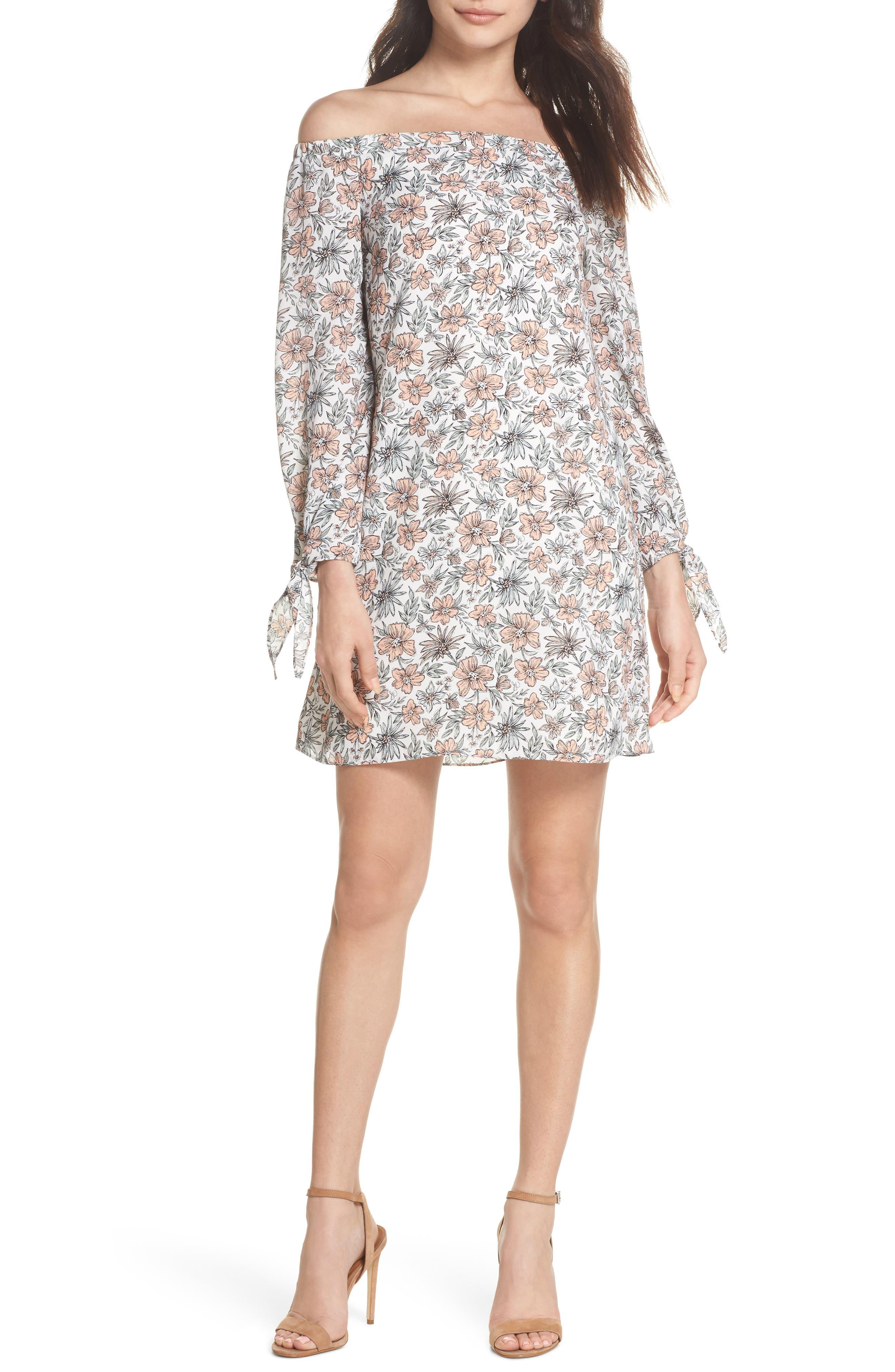 Off the Shoulder Shift Dress,                         Main,                         color, Ivory/ Blush