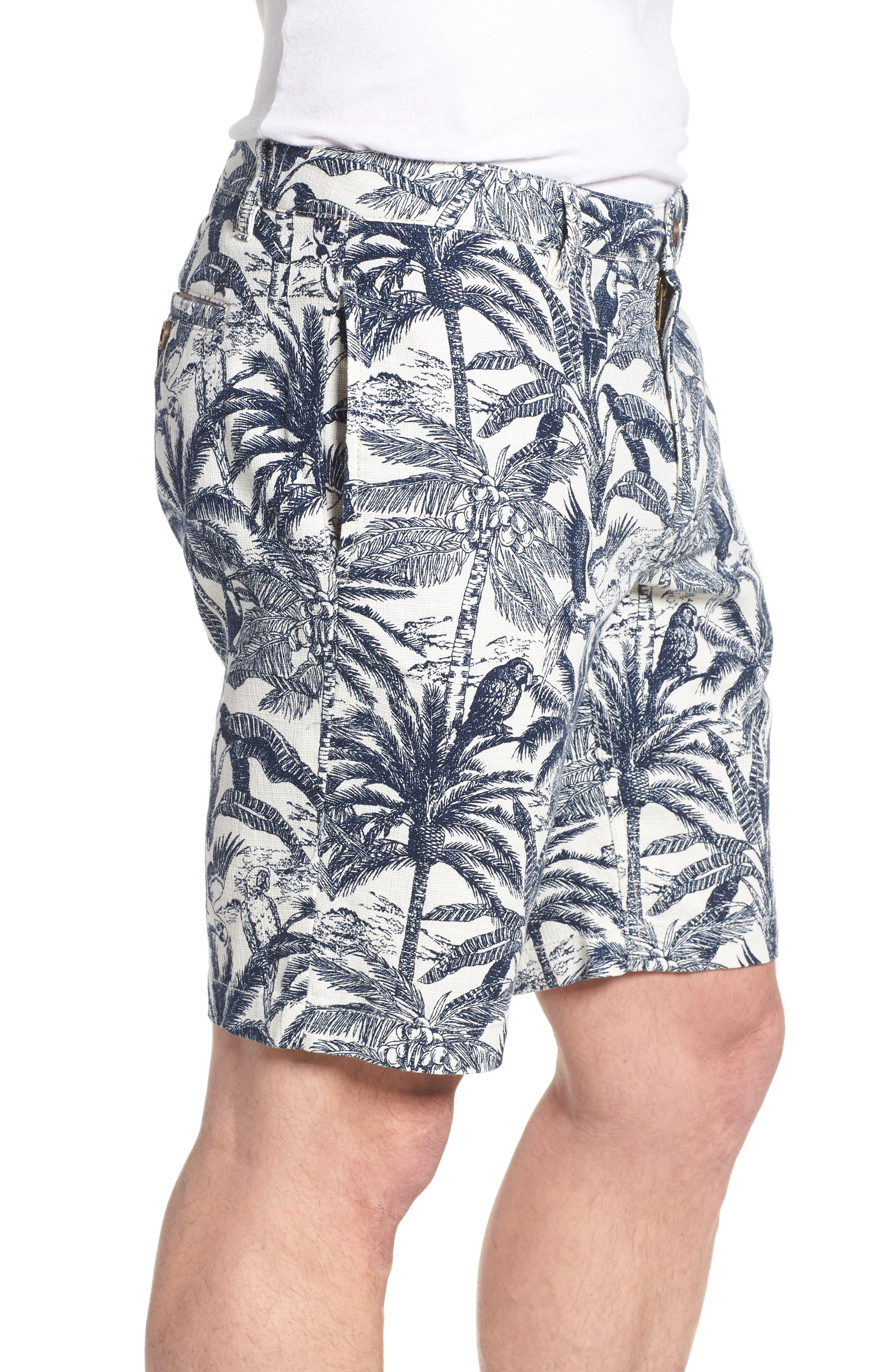 Cotton & Linen Shorts,                             Alternate thumbnail 3, color,                             White Palm Parrot Print