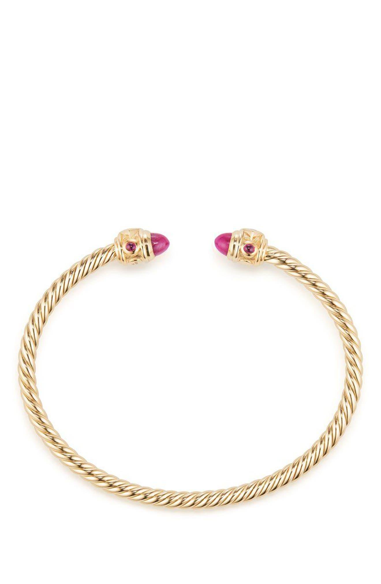 Renaissance Bracelet in 18K Gold, 3.5mm,                             Alternate thumbnail 2, color,                             Gold/ Ruby