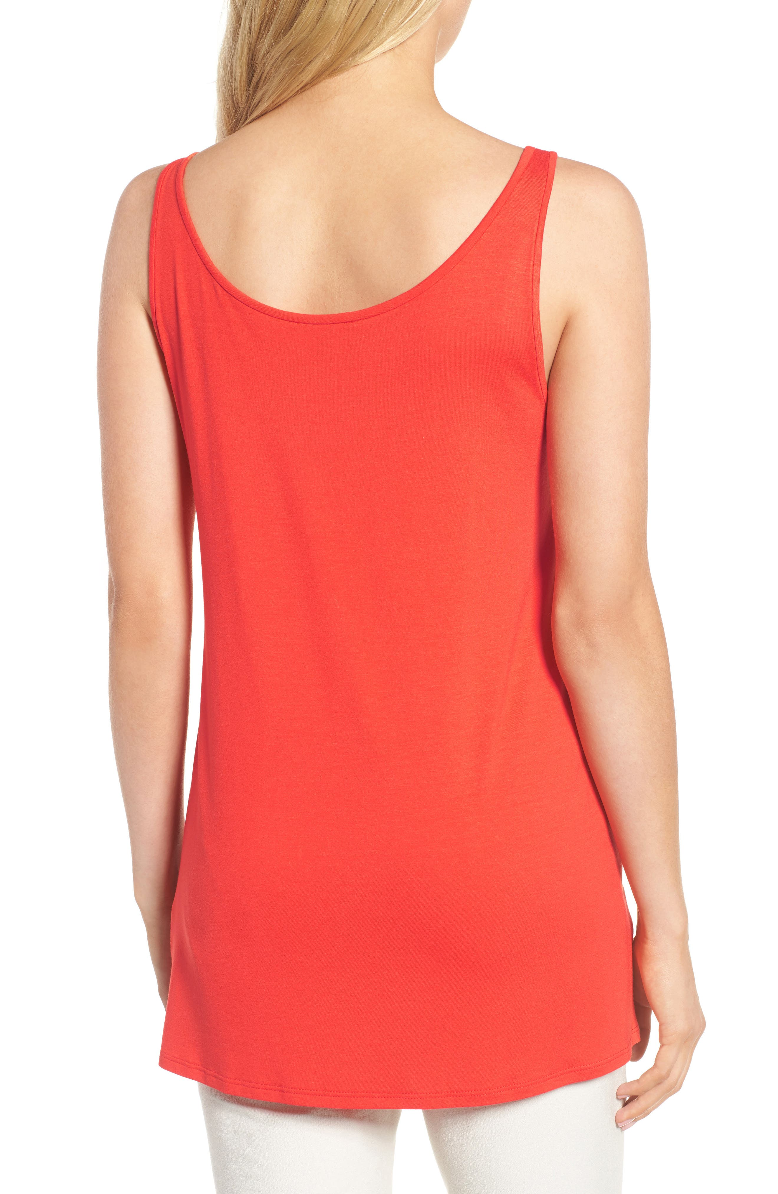Jersey Scoop Neck Long Tank,                             Alternate thumbnail 2, color,                             Hot Red