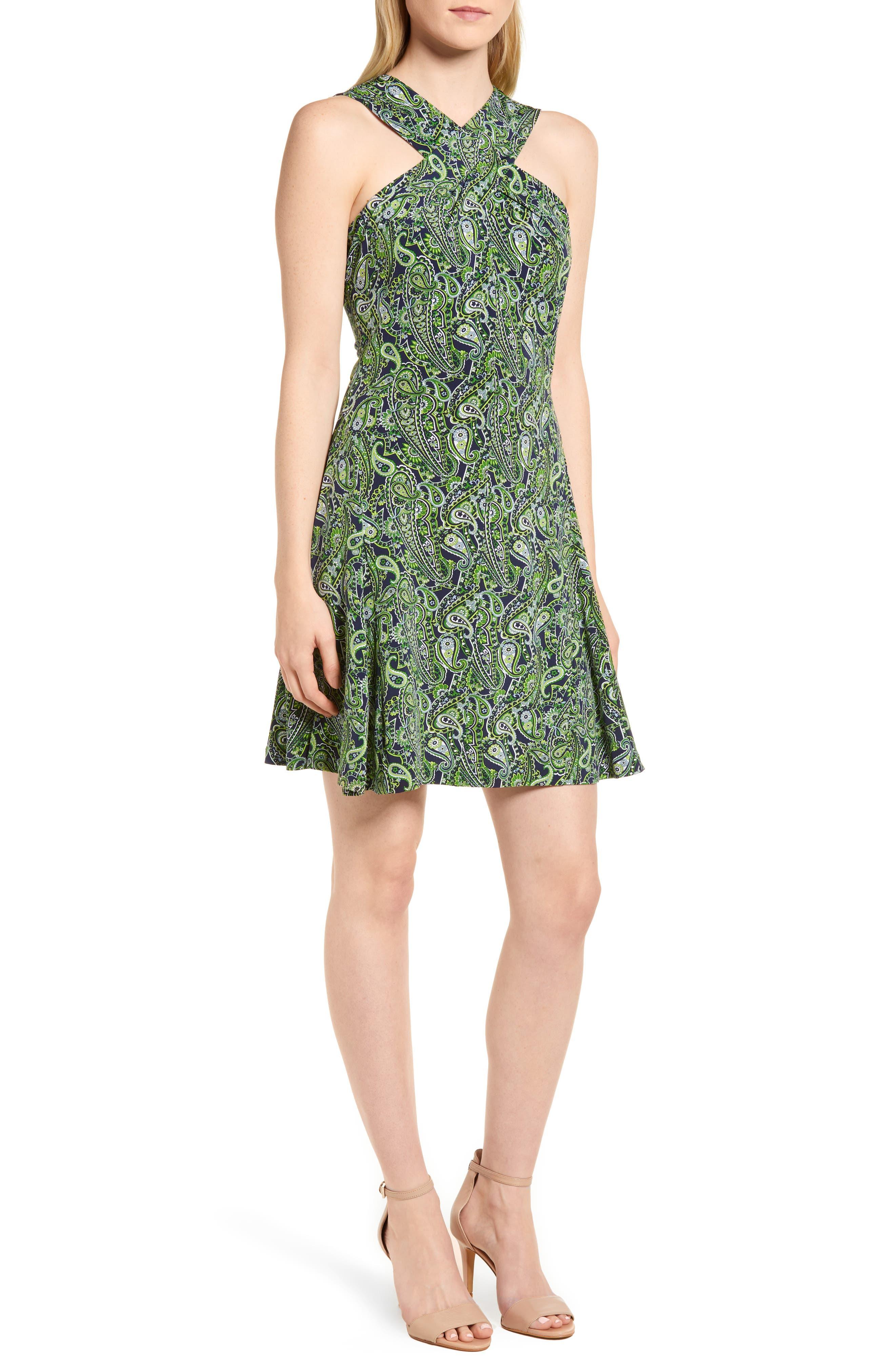 Paisley Paradise Fit & Flare Dress,                         Main,                         color, True Navy/ Green Apple Mu