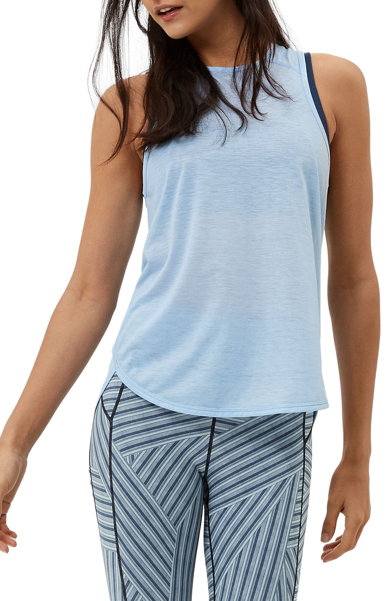 Pacesetter Run Tank,                         Main,                         color, Baby Blue Marl