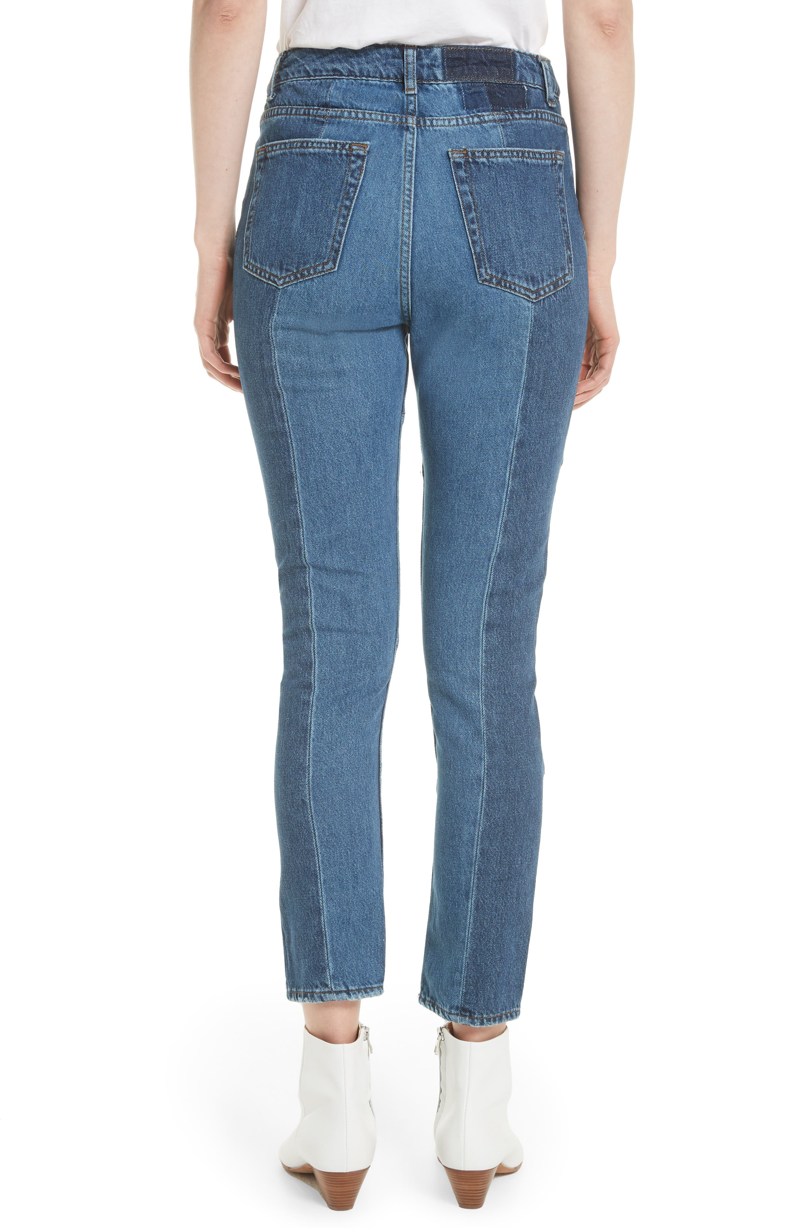 Patch Skinny Jeans,                             Alternate thumbnail 2, color,                             Blue