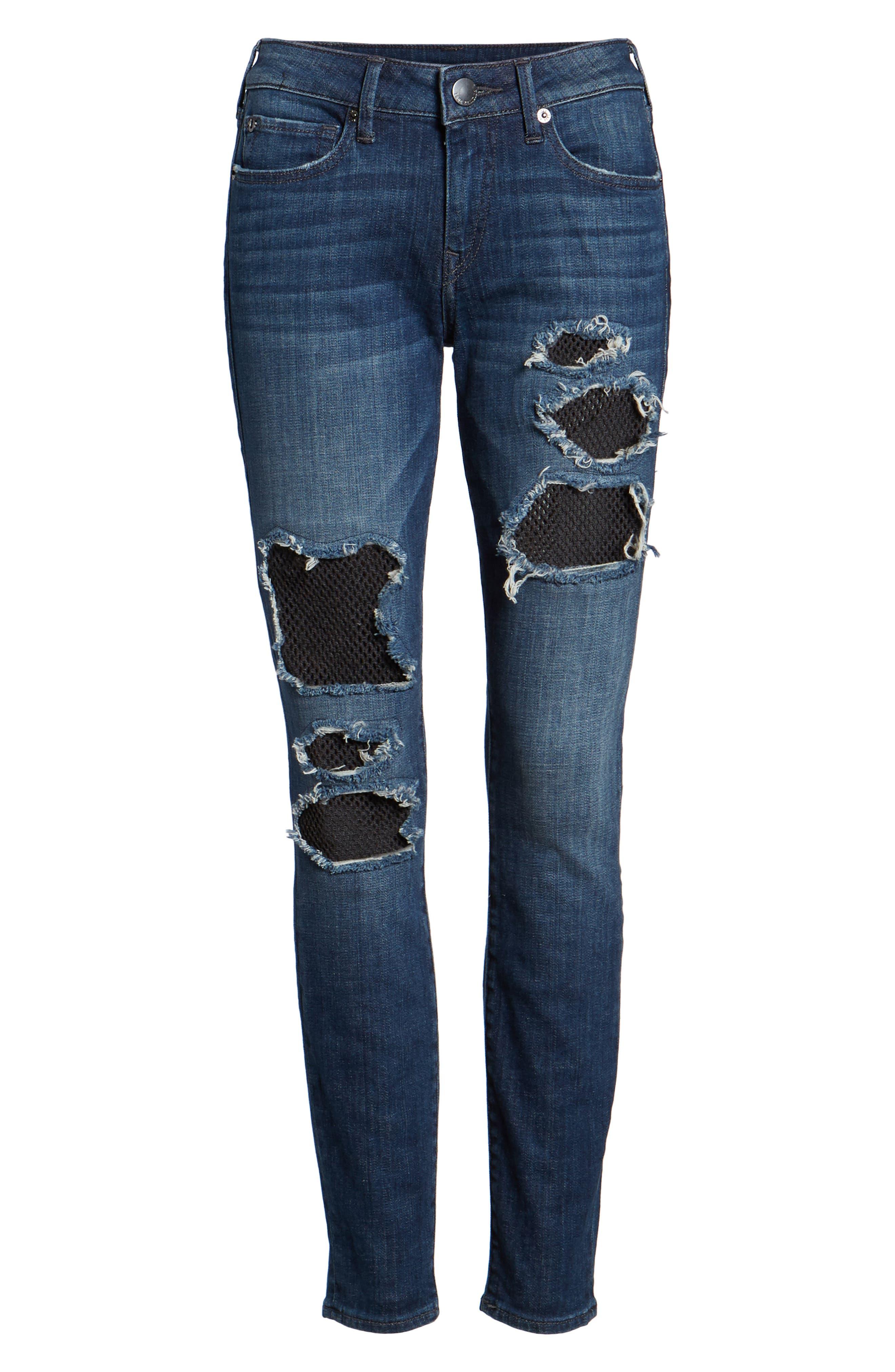 Halle Fishnet Skinny Jeans,                             Alternate thumbnail 7, color,                             Ebrd Cobalt Crush