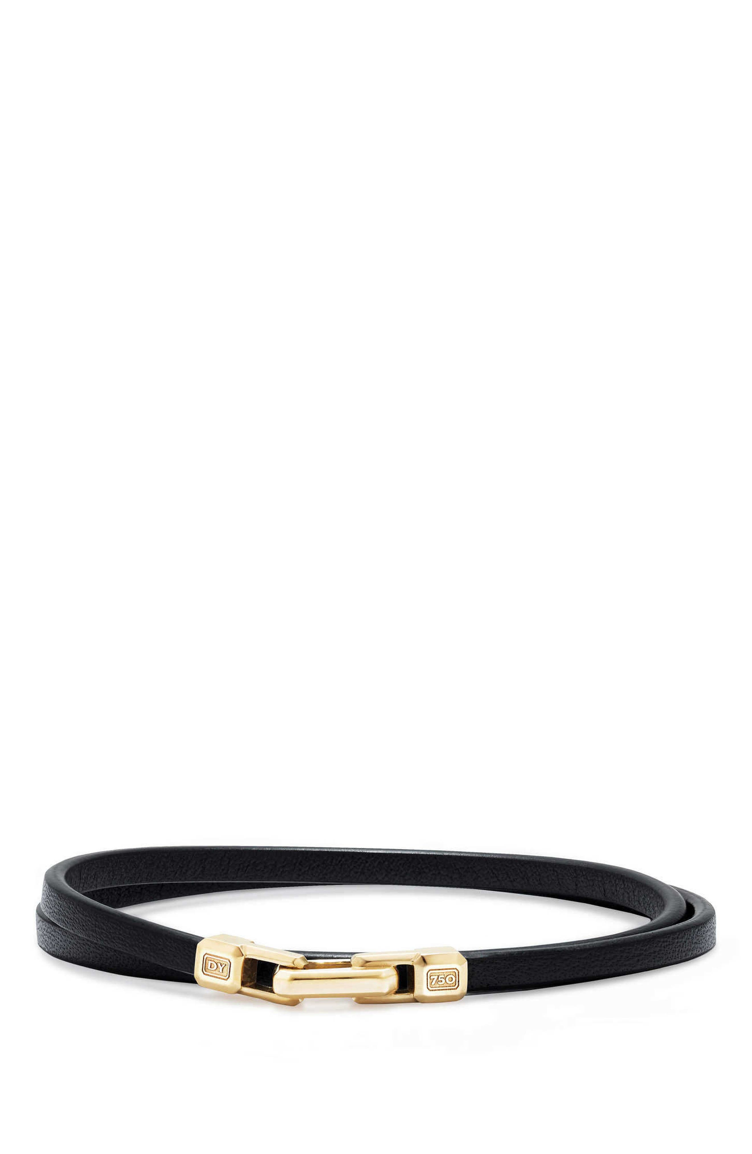 Streamline Double Wrap Leather Bracelet with 18K Gold,                         Main,                         color, Gold