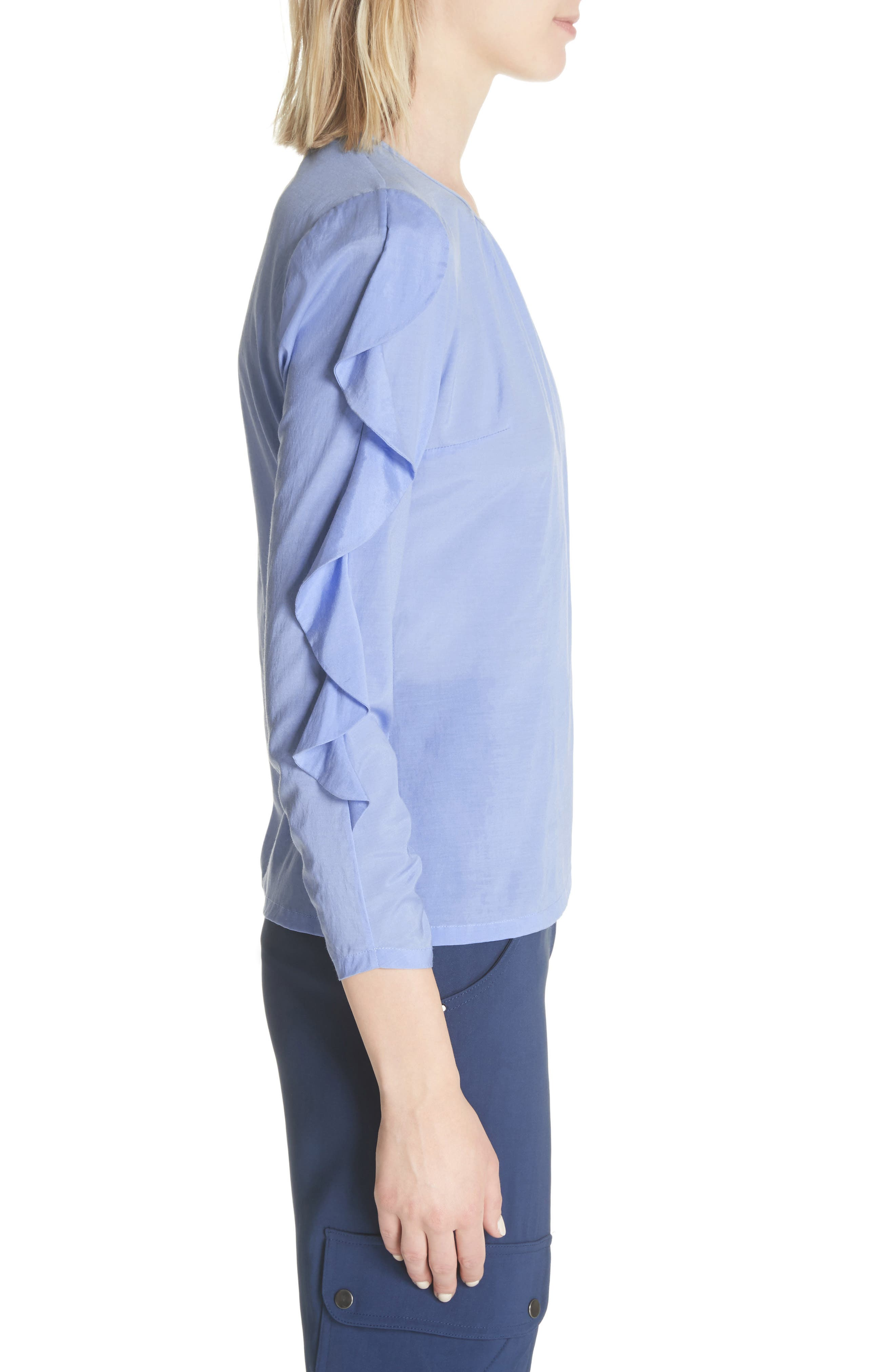 Frilled Stretch Silk Top,                             Alternate thumbnail 3, color,                             Periwinkle