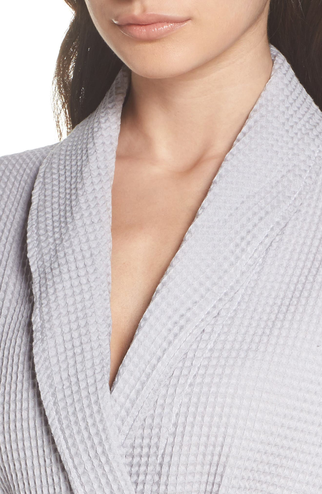 Waffle Knit Cotton Robe,                             Alternate thumbnail 5, color,                             Dove Grey