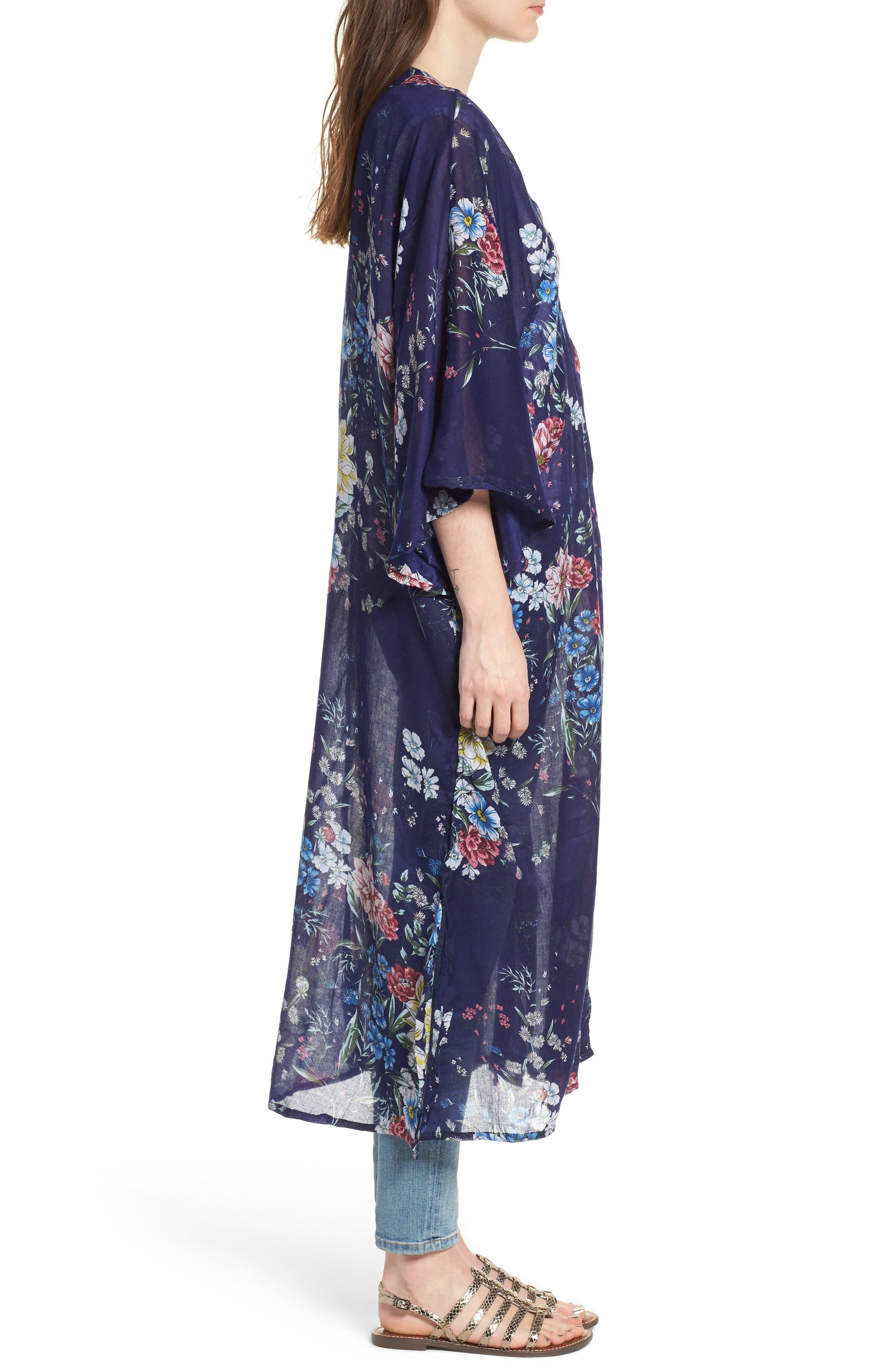 Floral Kimono Duster,                             Alternate thumbnail 3, color,                             Navy