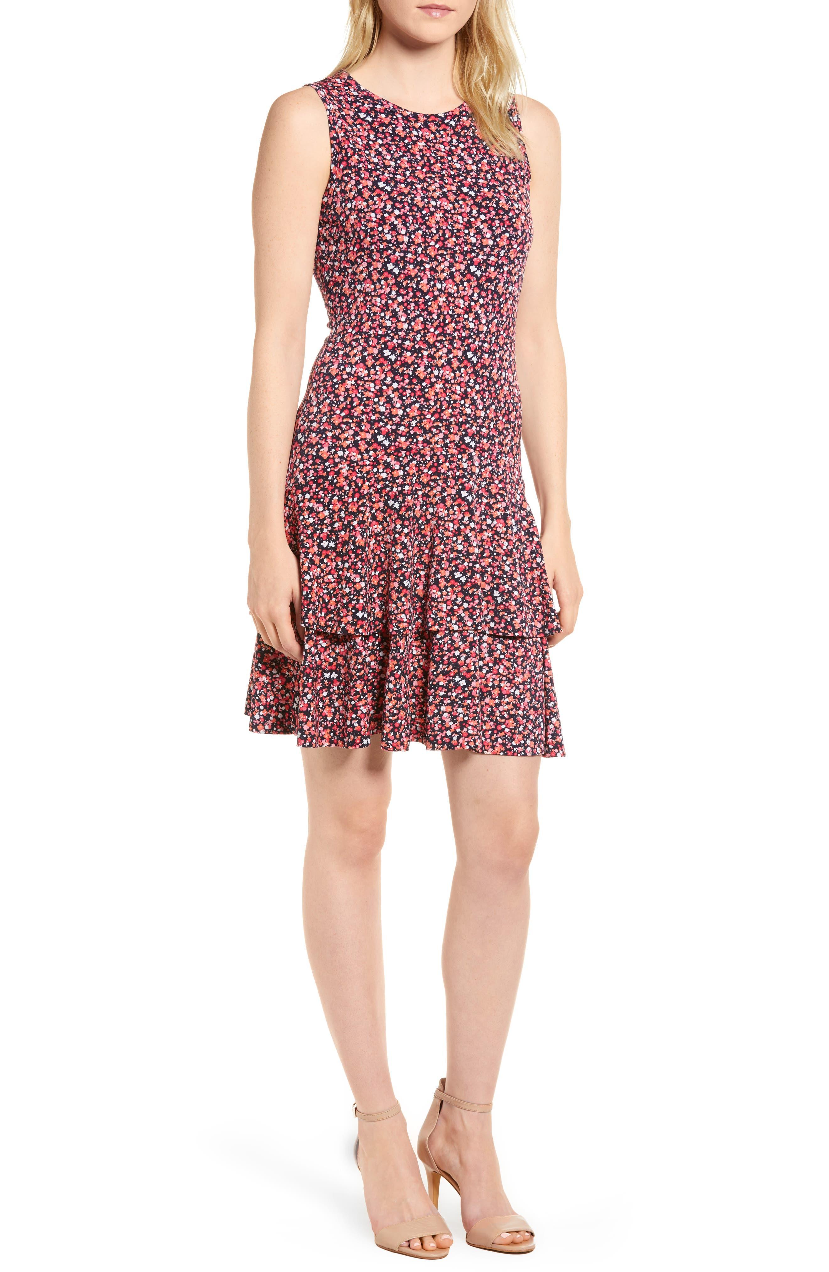 MICHAEL Michael Kors Wildflower Flounce Sleeveless Dress