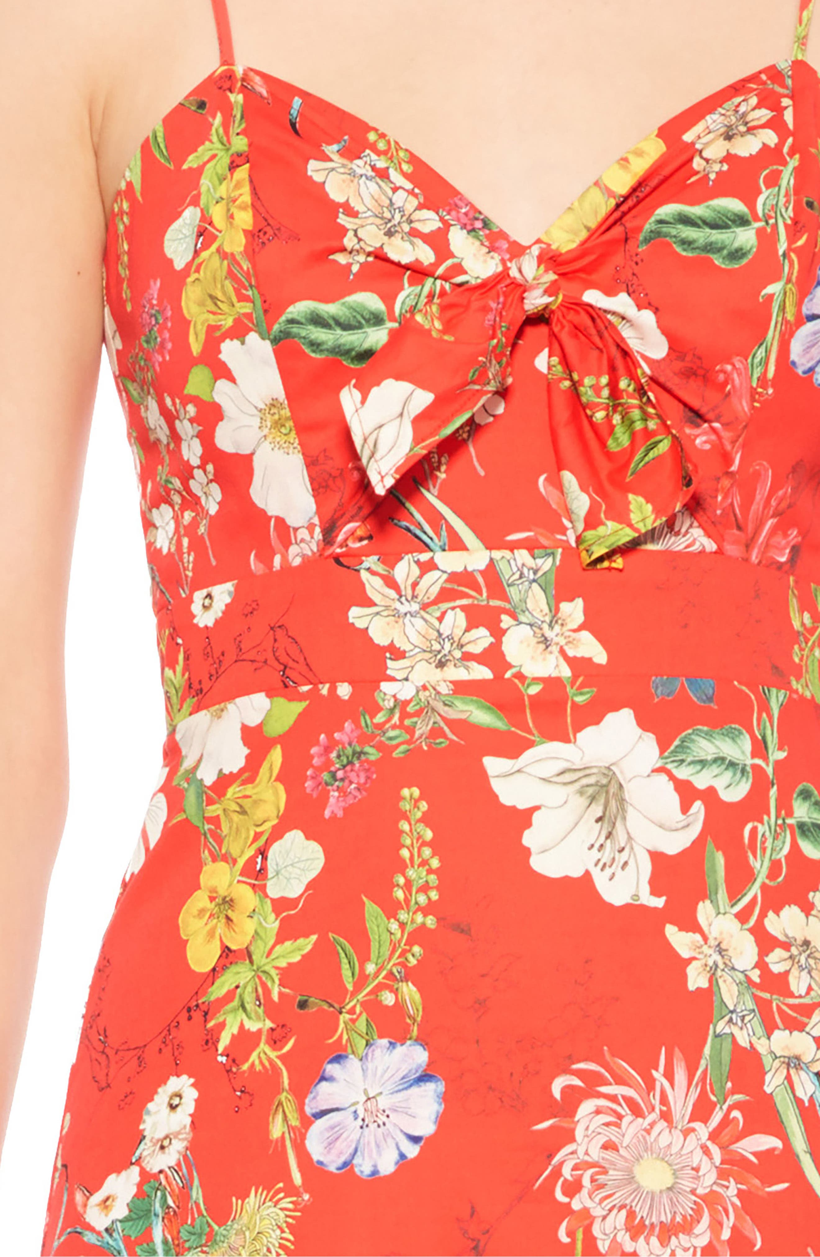 Dany Floral Dress,                             Alternate thumbnail 4, color,                             Red Sangria