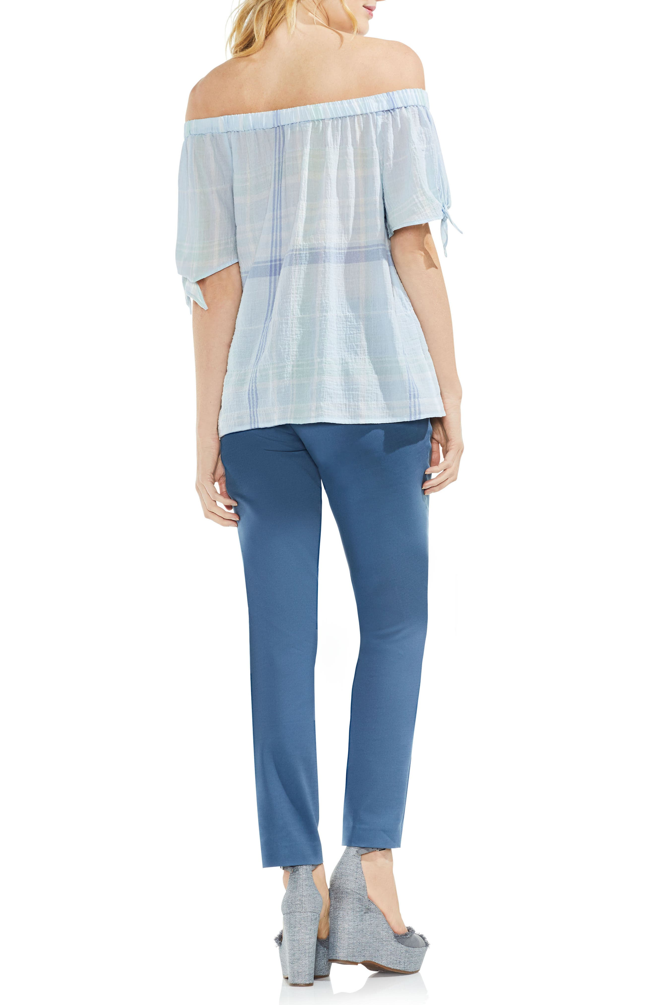 Crinkle Stretch Cotton Off the Shoulder Top,                             Alternate thumbnail 4, color,                             Chalk Blue
